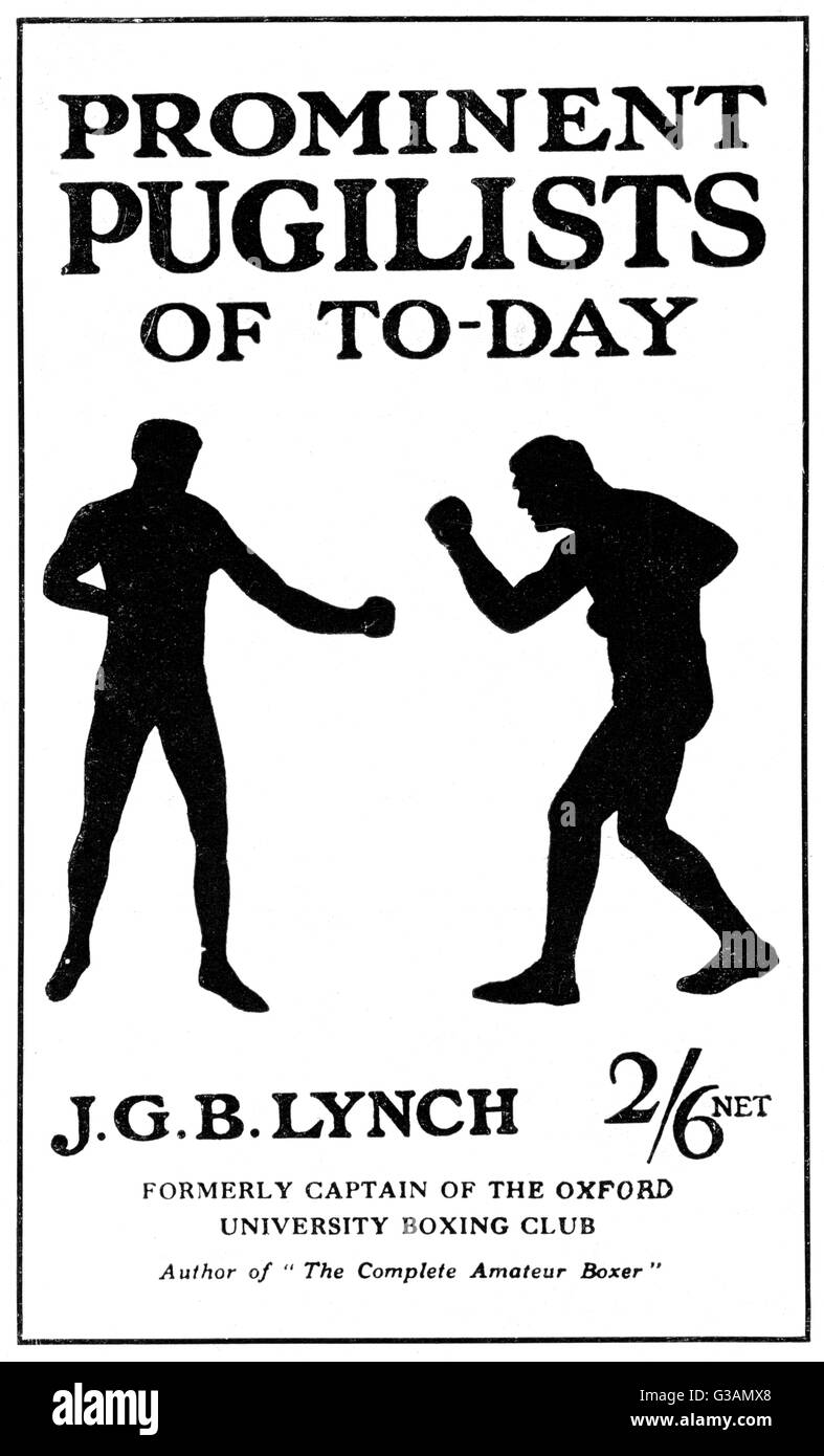 Book cover of Prominent Pugilists of To-Day by J. G. B. Lynch featuring silhouettes of two boxers fighting.     - Stock Image