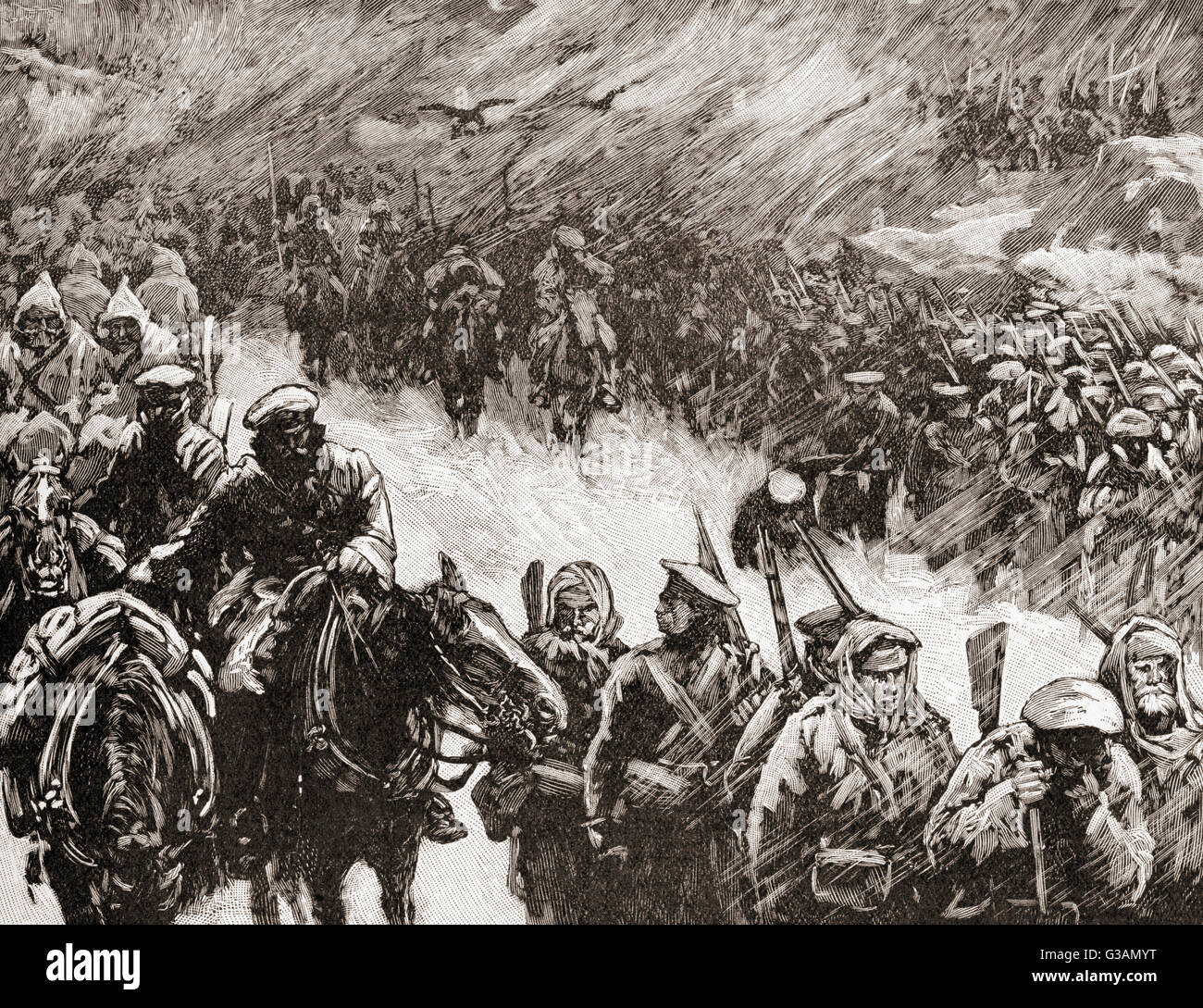 The Russian army under the leadership of Count Iosif Vladimirovich Romeyko-Gurko advance across the Balkans during - Stock Image