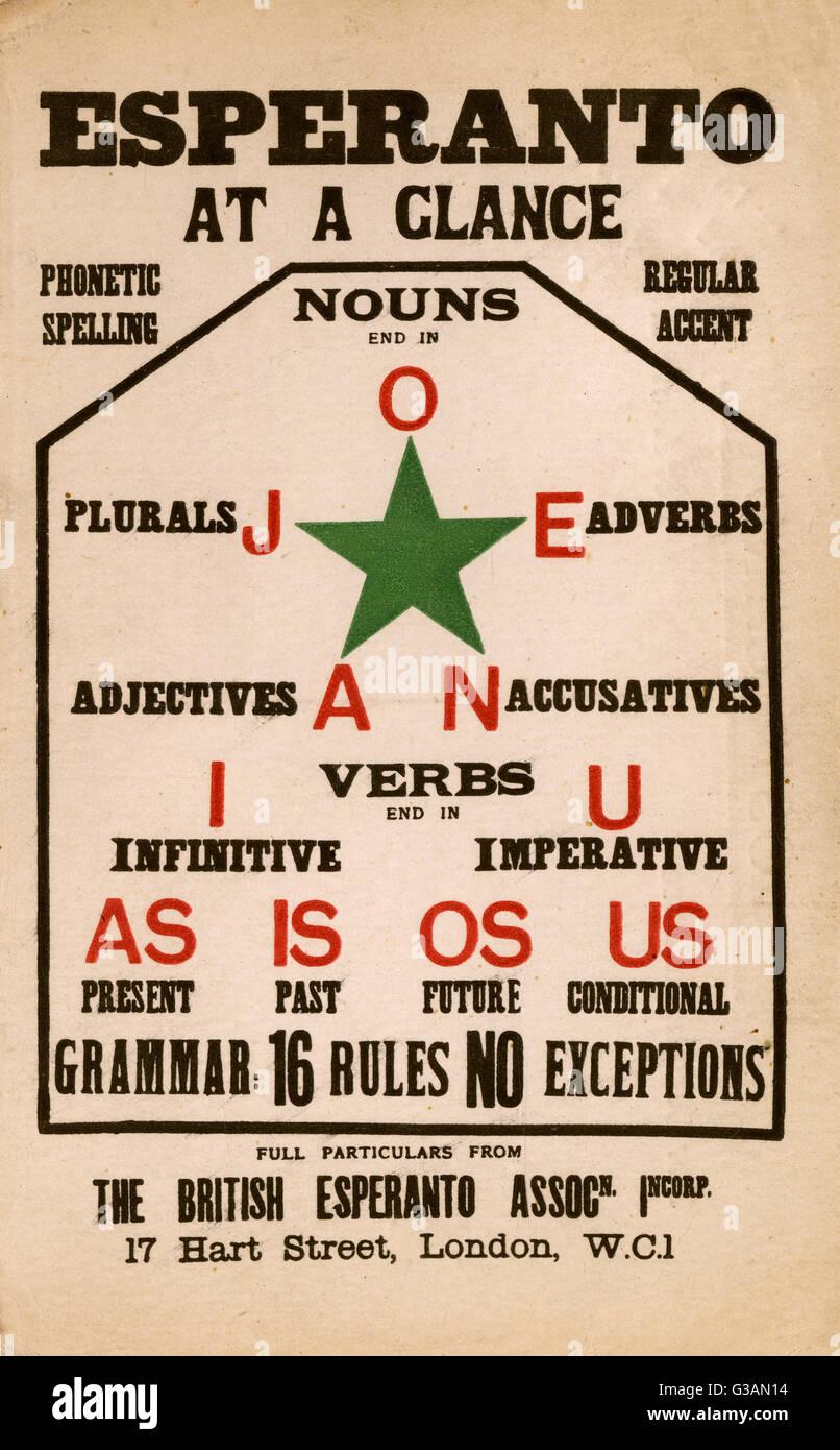 Language - Esperanto at a glance - card produced by the British Esperanto Association. L L Zamenhof published the - Stock Image