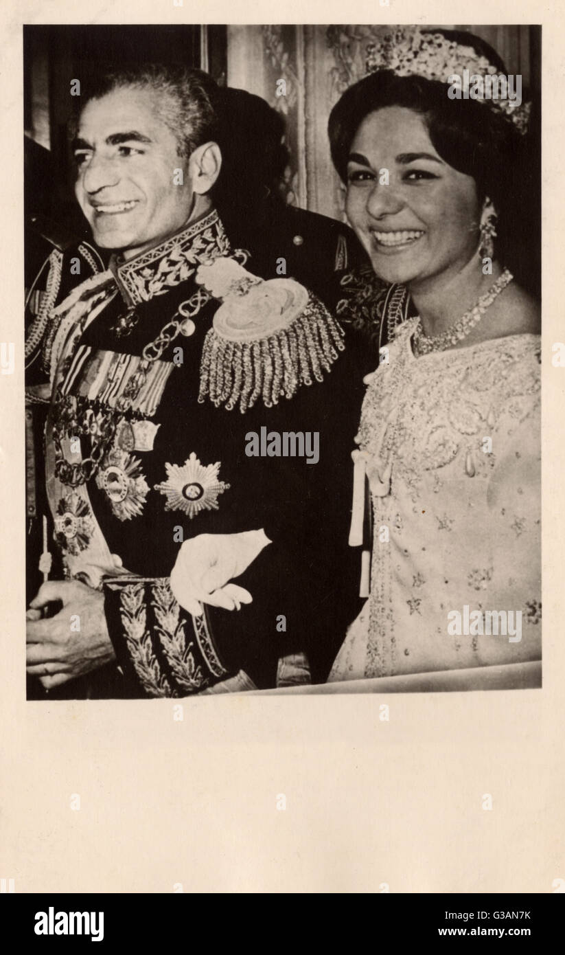 Shah of Iran (Persia) Mohammad Reza Pahlavi (1919-1980) marries his third wife, Farah Pahlavi (formerly Farah Diba) - Stock Image