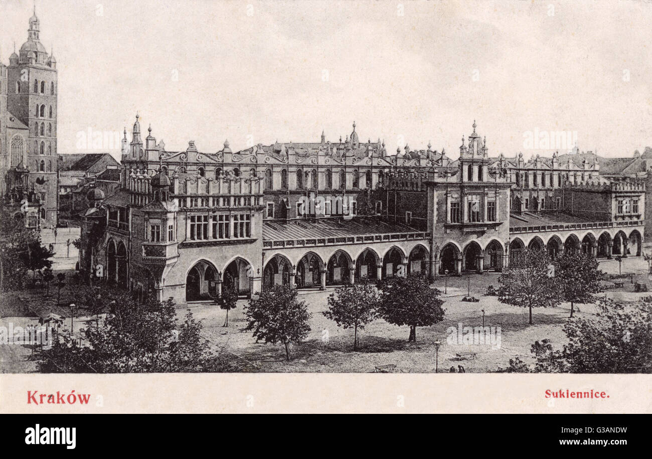 Krakow, Pland - The Renaissance Cloth Hall (Sukiennice) in the Main Market Square     Date: 1906 - Stock Image