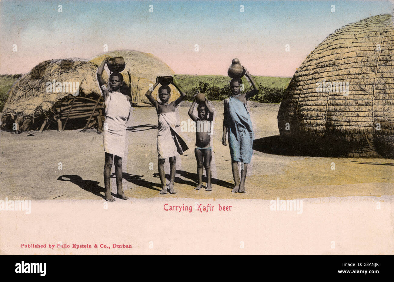 Four children (of varied ages) carrying Native-brewed ('Kafir') Beer - South Africa     Date: circa 1903 Stock Photo