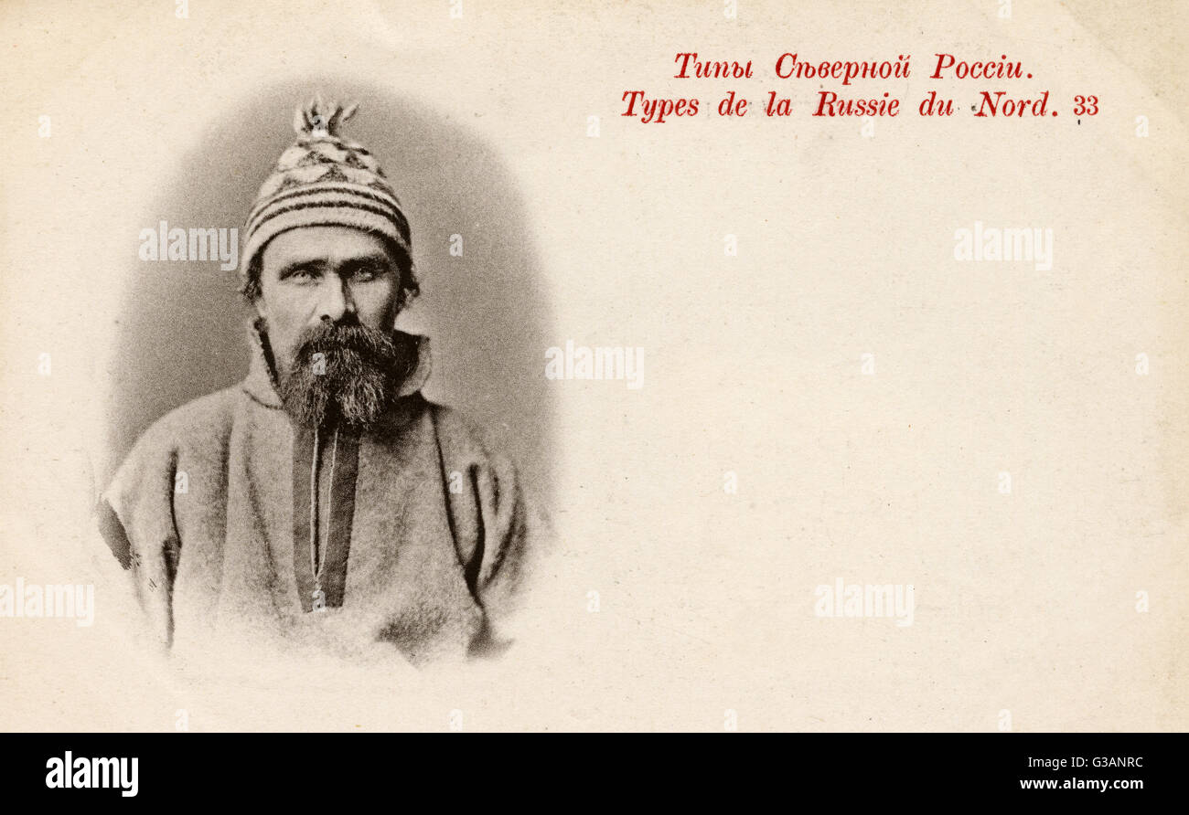Physiognomy - Northern Russian Type (1/2) - Full front face view.     Date: 1902 - Stock Image