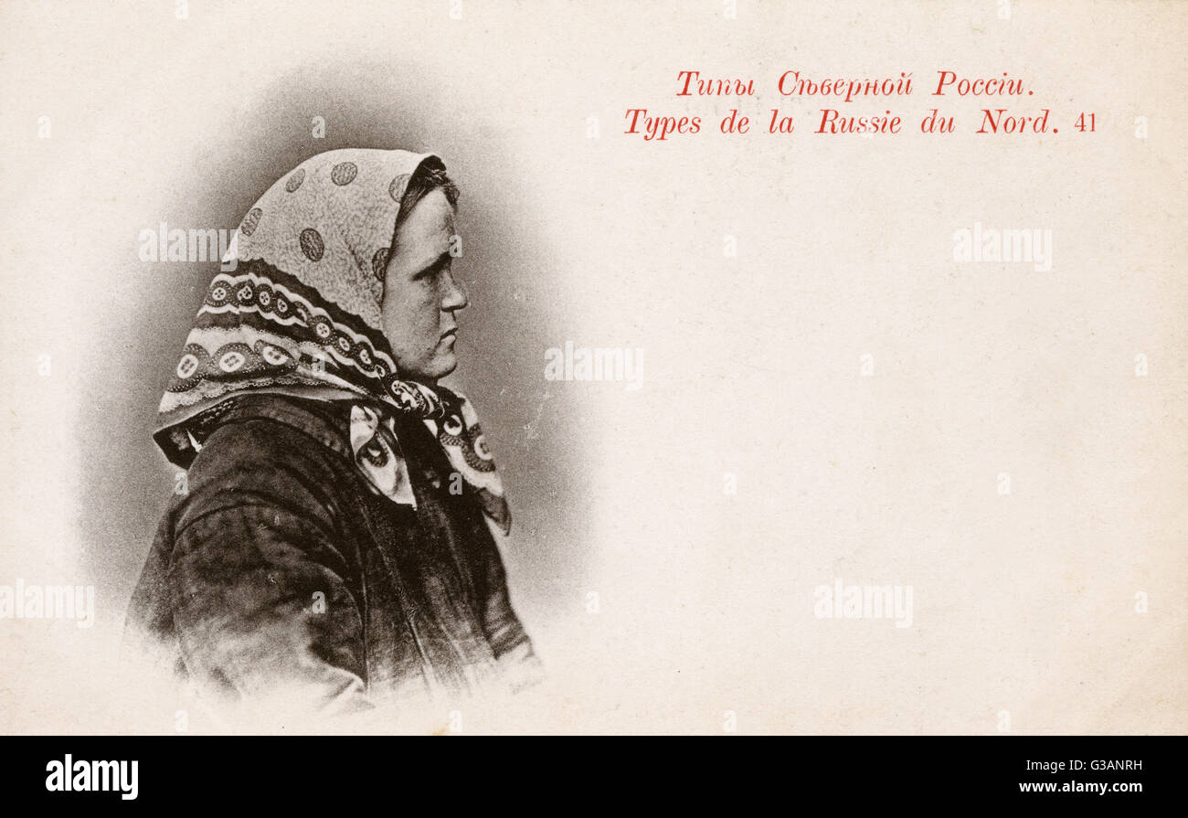 Physiognomy - Northern Russian Type - Woman (1/2) - profile view.     Date: 1902 - Stock Image
