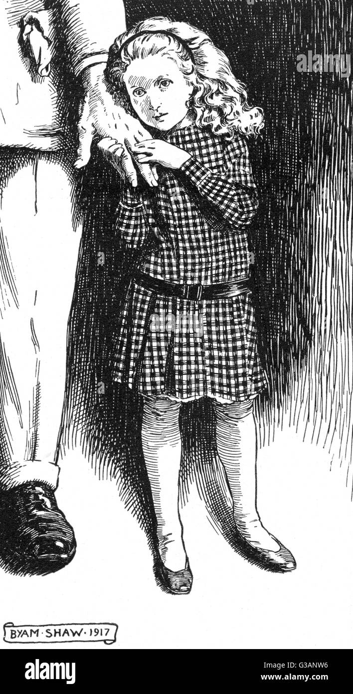 A picture drawn by the artist Byam Shaw for the benefit of the Blinded Soldiers' Children's Fund showing a small Stock Photo