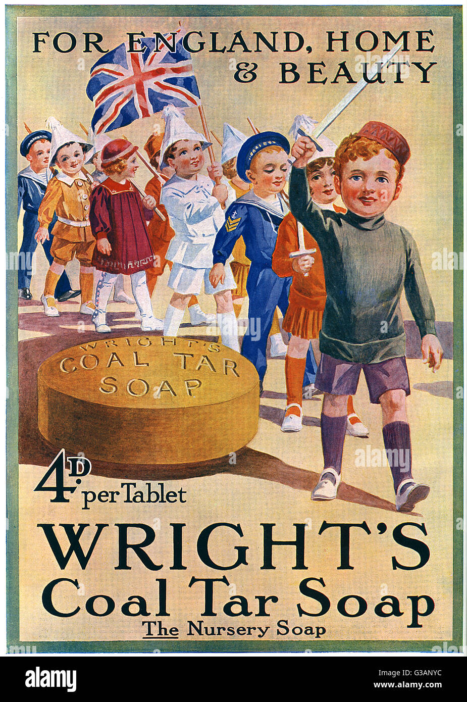 Patriotic soap advertisement from the Great War period depicting a group of soldierly children dressed in paper - Stock Image