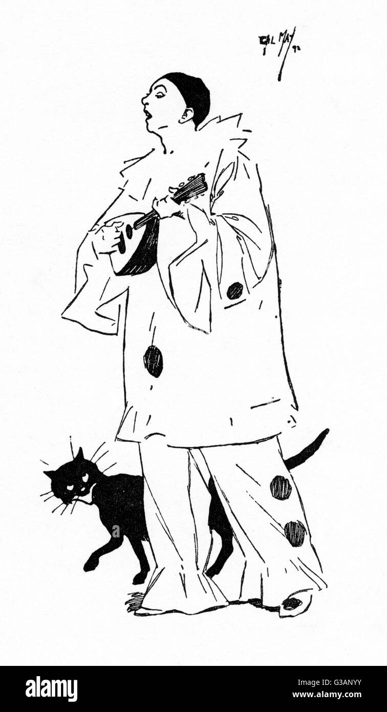 A wandering Pierrot Minstrel with his black cat.     Date: 1892 - Stock Image