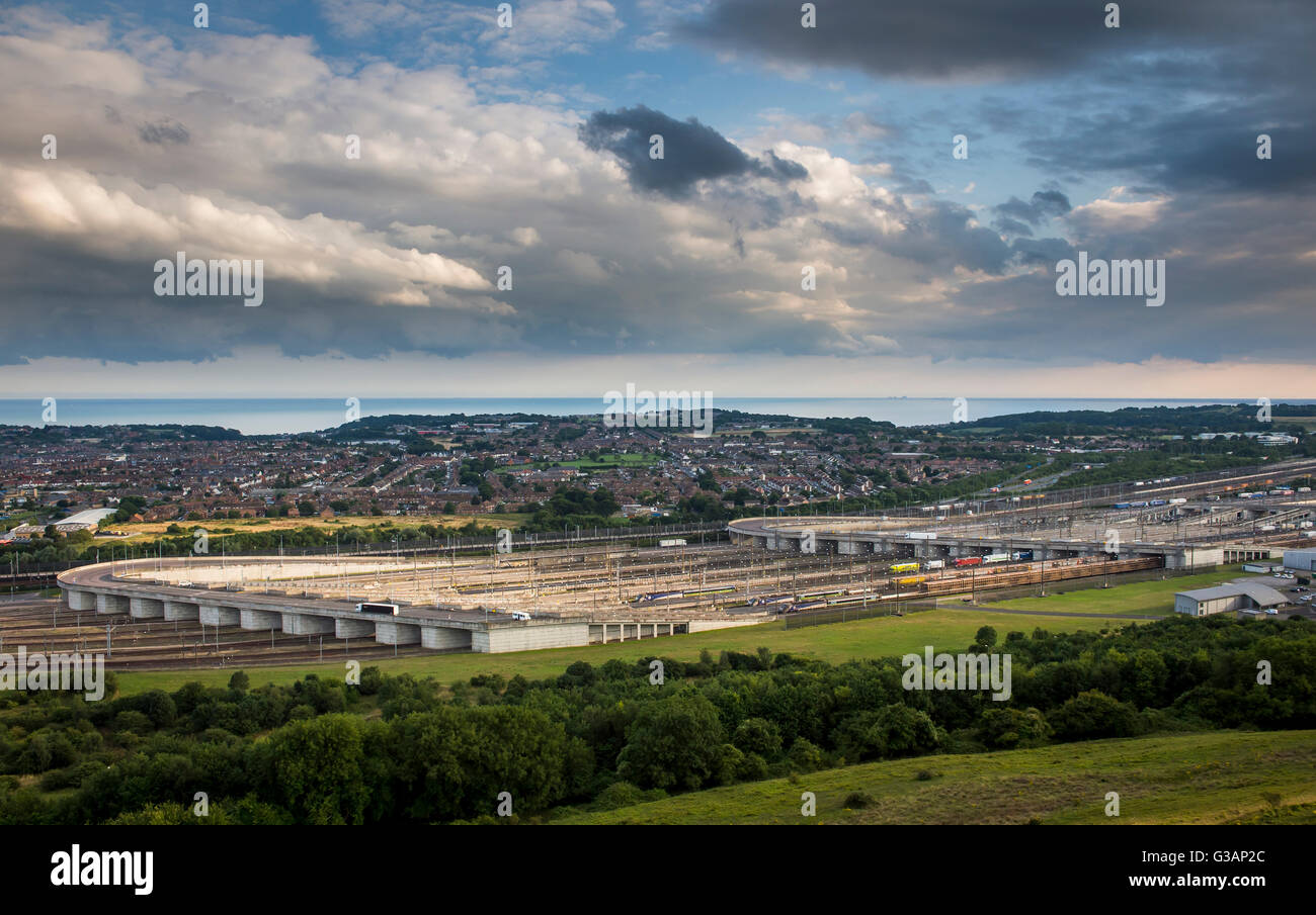 Beautiful view of the Eurotunnel terminal at Folkestone, England. - Stock Image