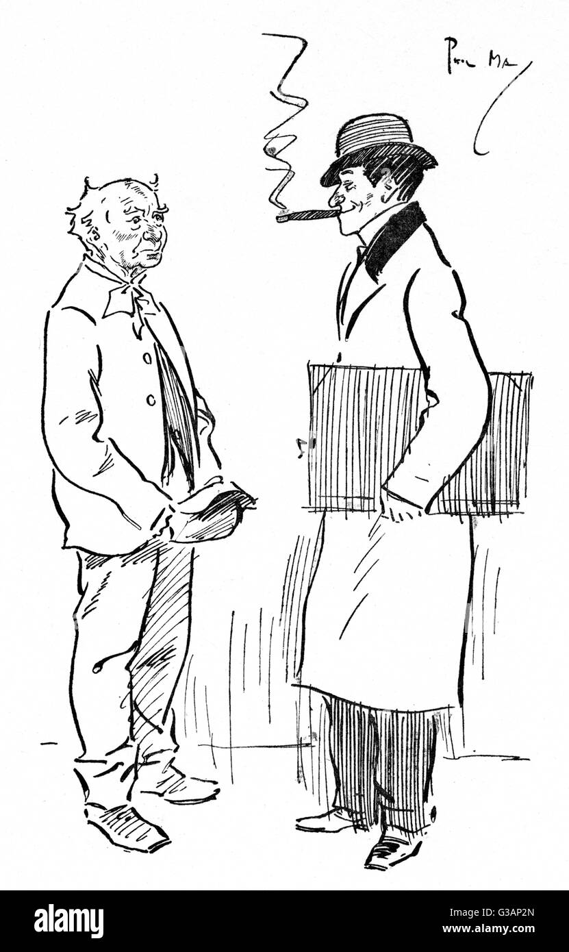'Brother Brushes' - humorous part-self-portrait drawing by Phil May of an old chap enquiring if the artist - Stock Image
