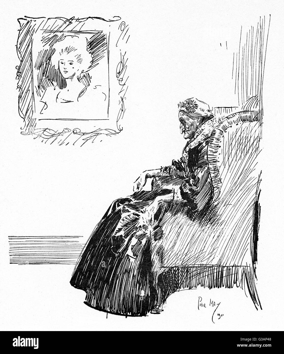 Elderly woman seated in a comfy chair, beneath a portrait depicting her in the full bloom of youthful beauty, now - Stock Image