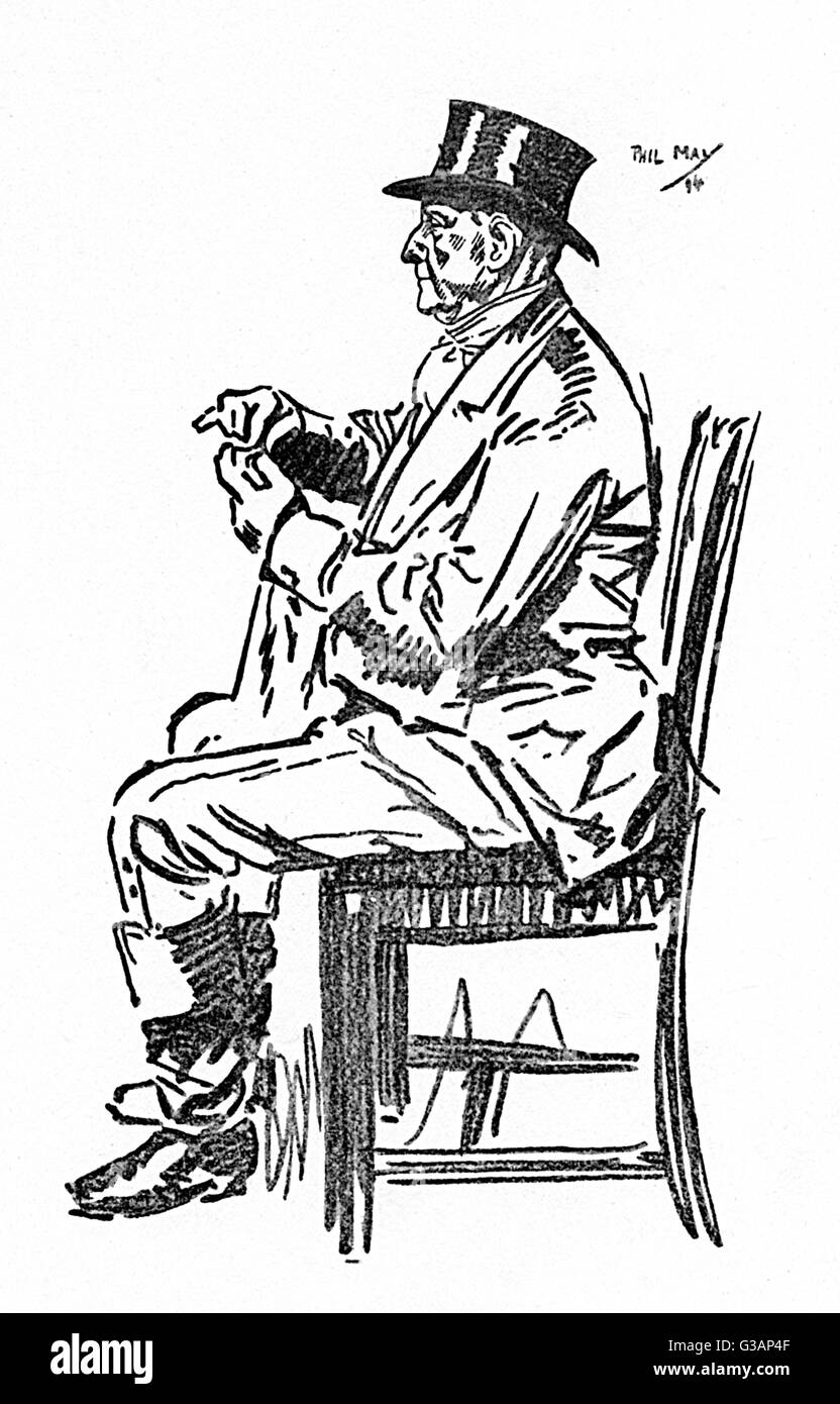 A profile portrait by Phil May entitled 'An Old Sport'. He appears to be polishing his monacle.     Date: - Stock Image