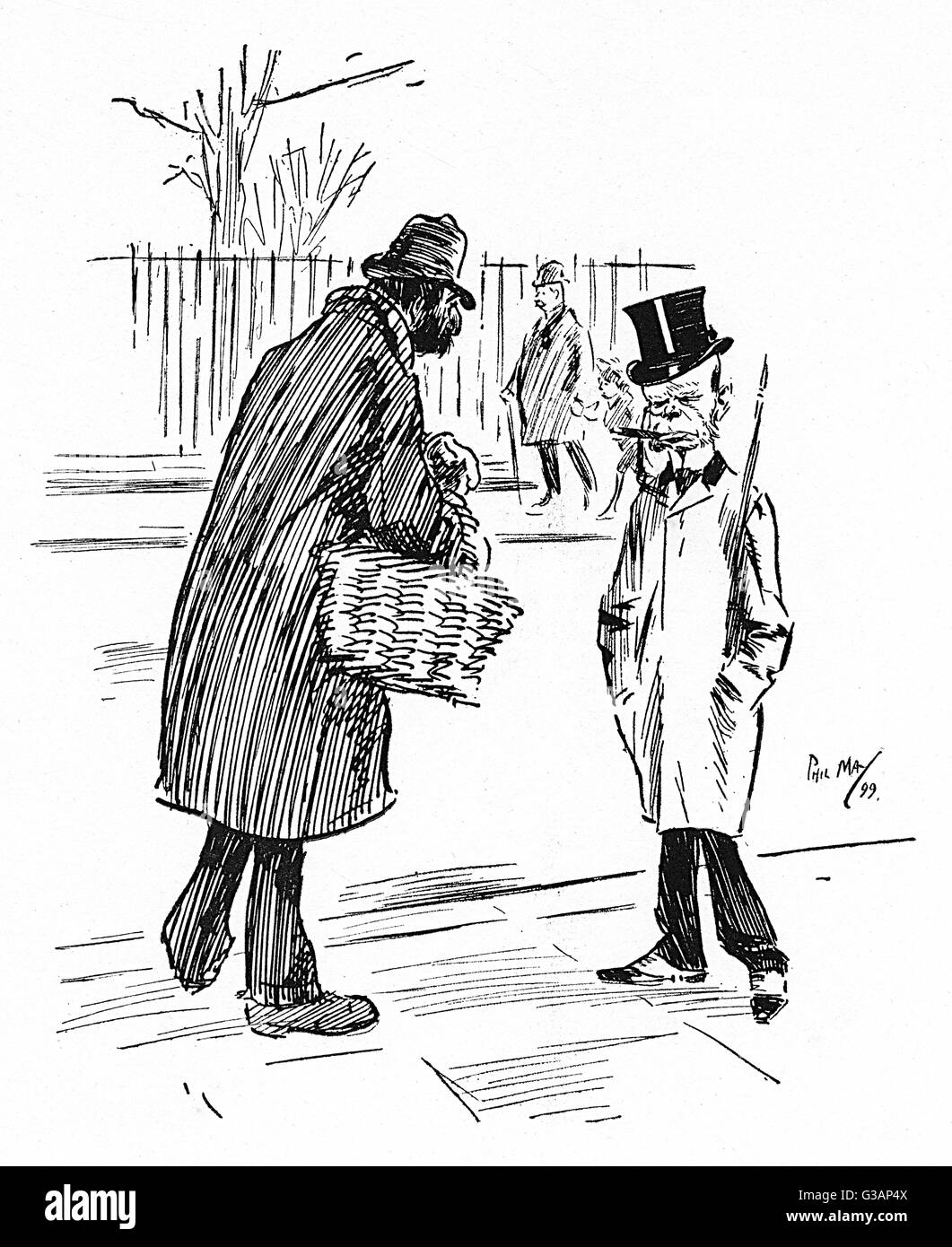 Street Vendor cheekily offering the sale of some nuts to a diminutive Gentleman with a distinctive Simian visage!! - Stock Image