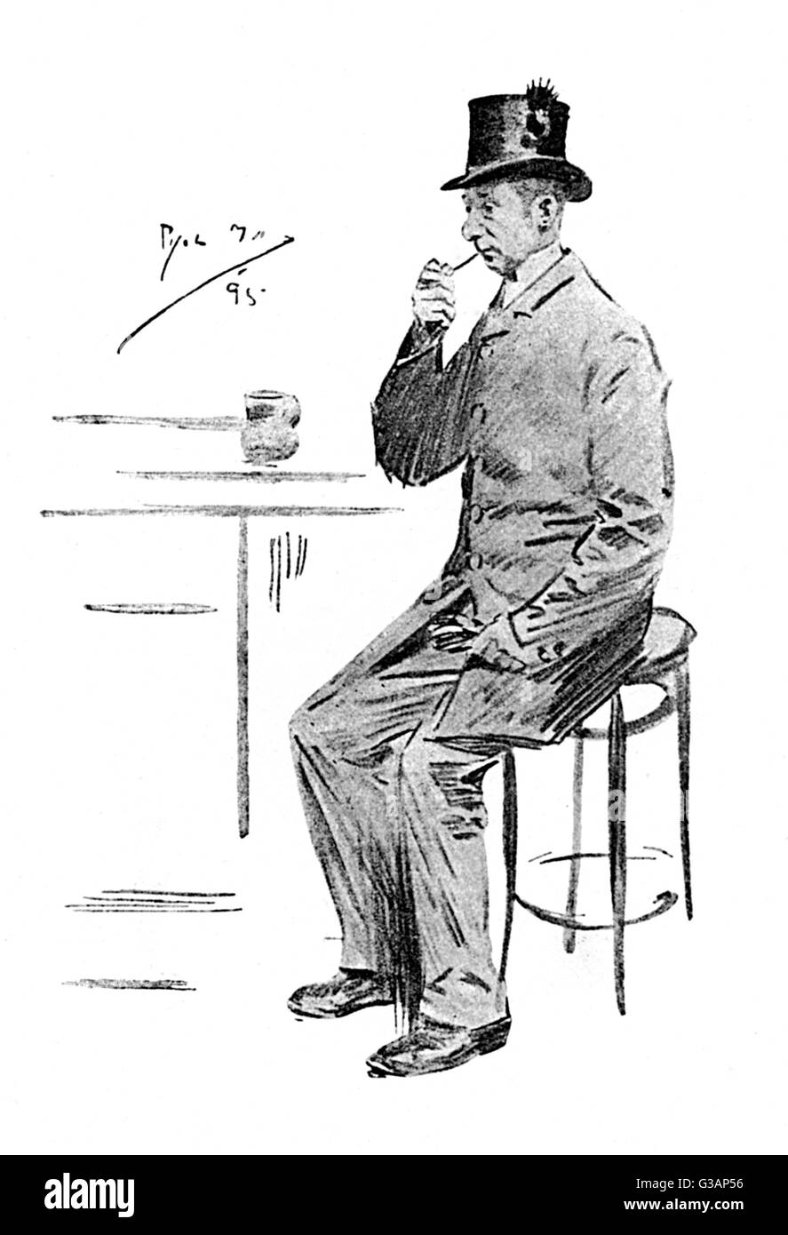 A study of a Coachman sat at the bar enjoying his pipe and his pint pot of ale.     Date: 1895 - Stock Image