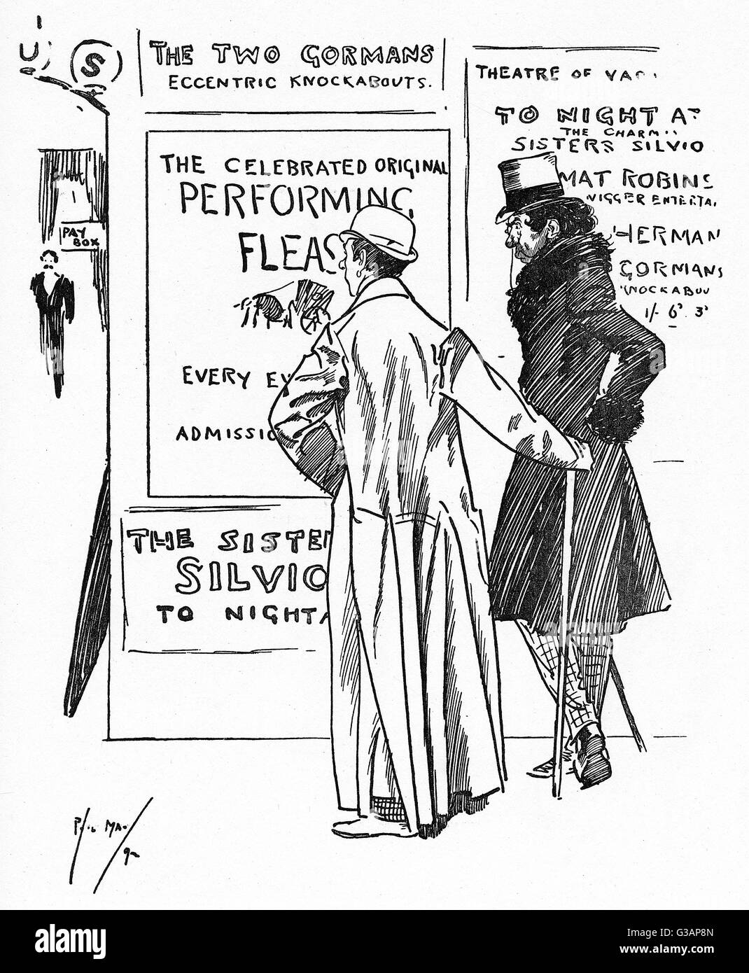 Two Actors outside a theatre (on observing the playbills displayed) pass comment on a Performing Flea Show.    First - Stock Image