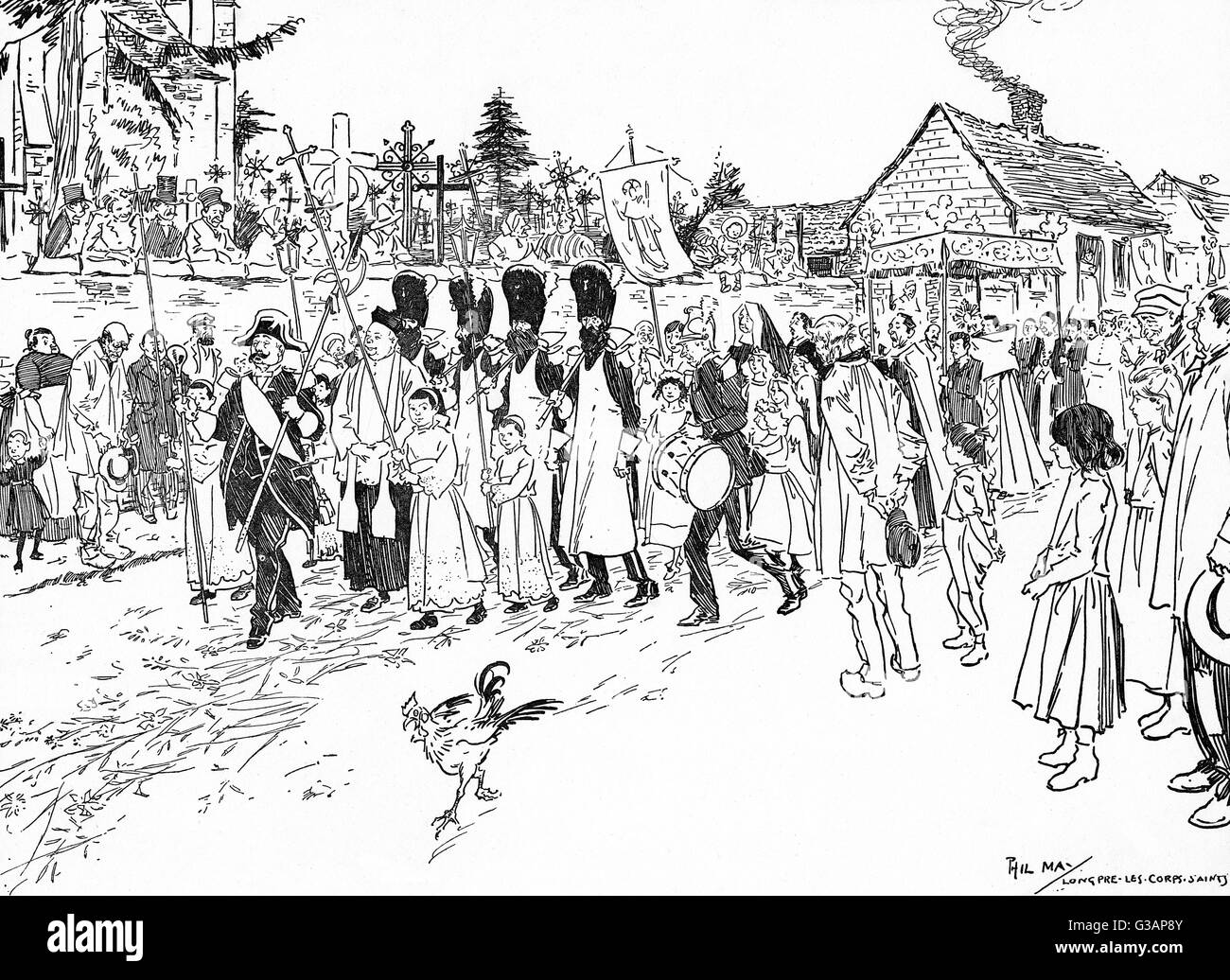 A Procession in Picardy - delightful study of a religious parade of relics passing at Longpr魬es-Corps-Saints, Stock Photo