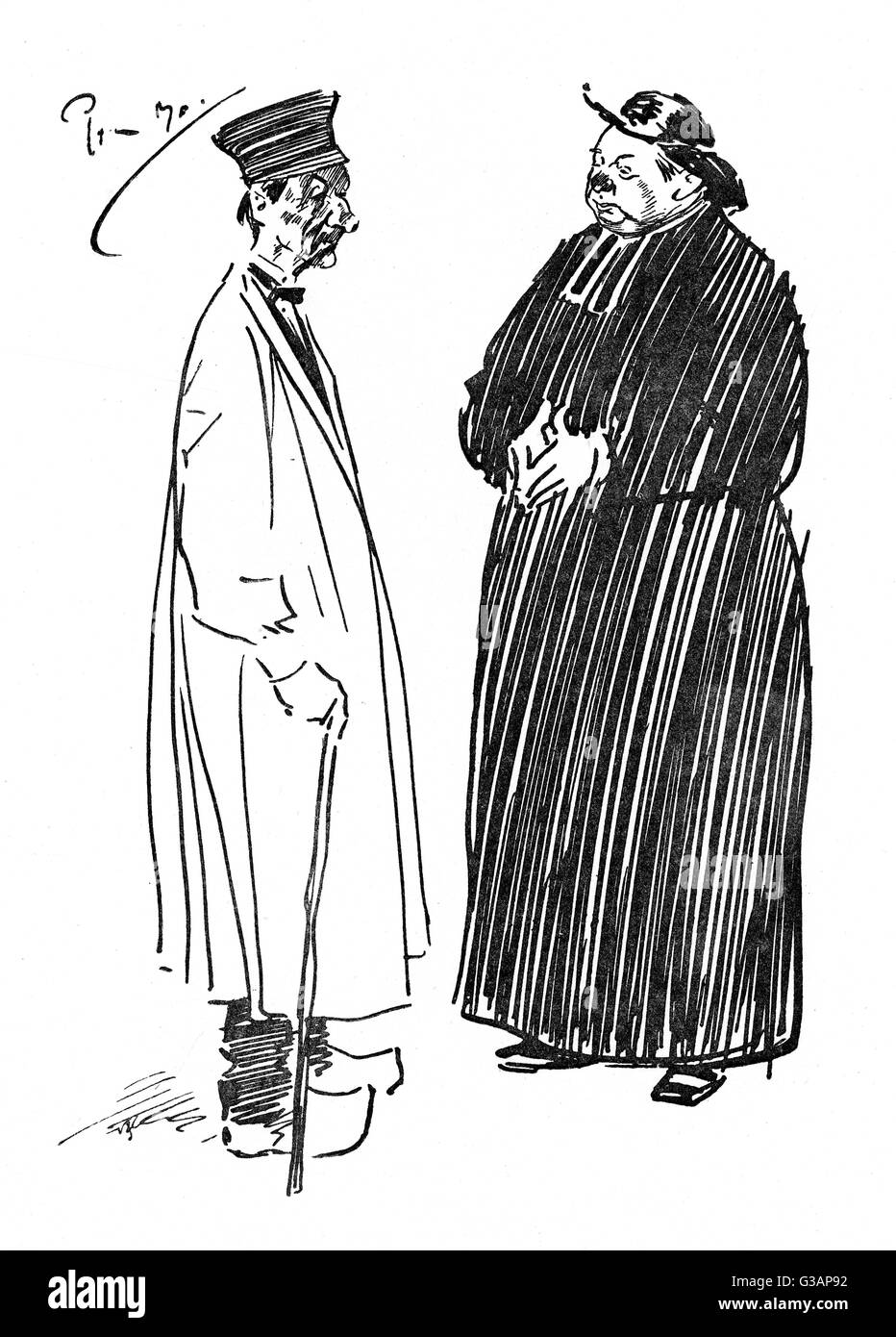 'Sketched in Picardy'    A Frenchman (wearing clogs) talking to a Priest (with a suspiciously red nose) in a village Stock Photo