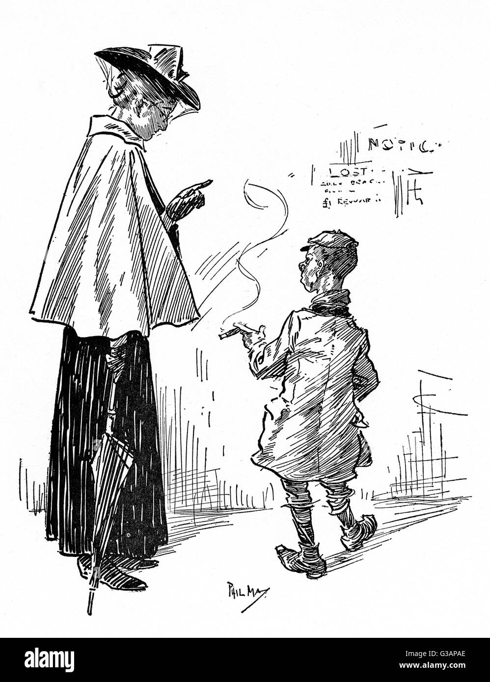"Streetwise young scamp talks back at an admonishing woman who is criticising him for smoking.""Do you know - Stock Image"