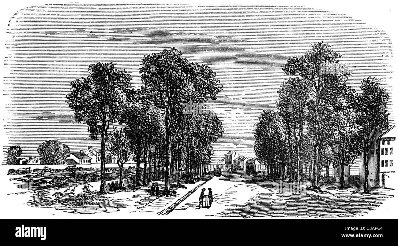Paris, France - A view on the old Exterior Boulevards     Date: early 19th century - Stock Image
