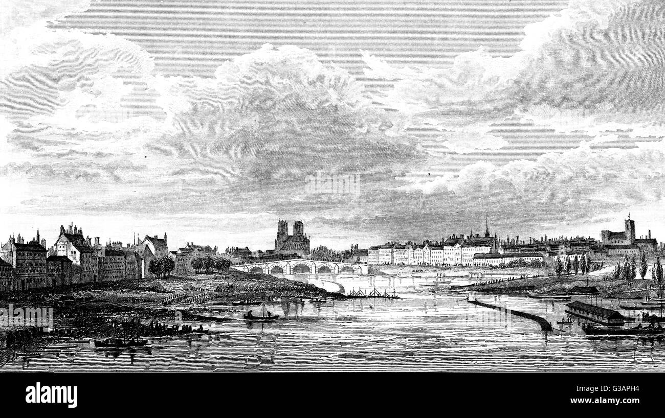 Paris, France - General View from the Austerlitz Bridge     Date: 1830 - Stock Image
