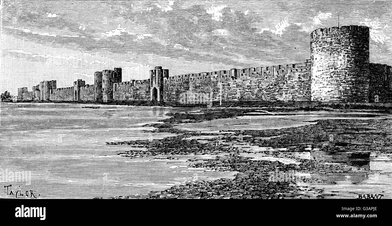 Aigues-mortes, France - Medieval ramparts     Date: circa 1850s - Stock Image