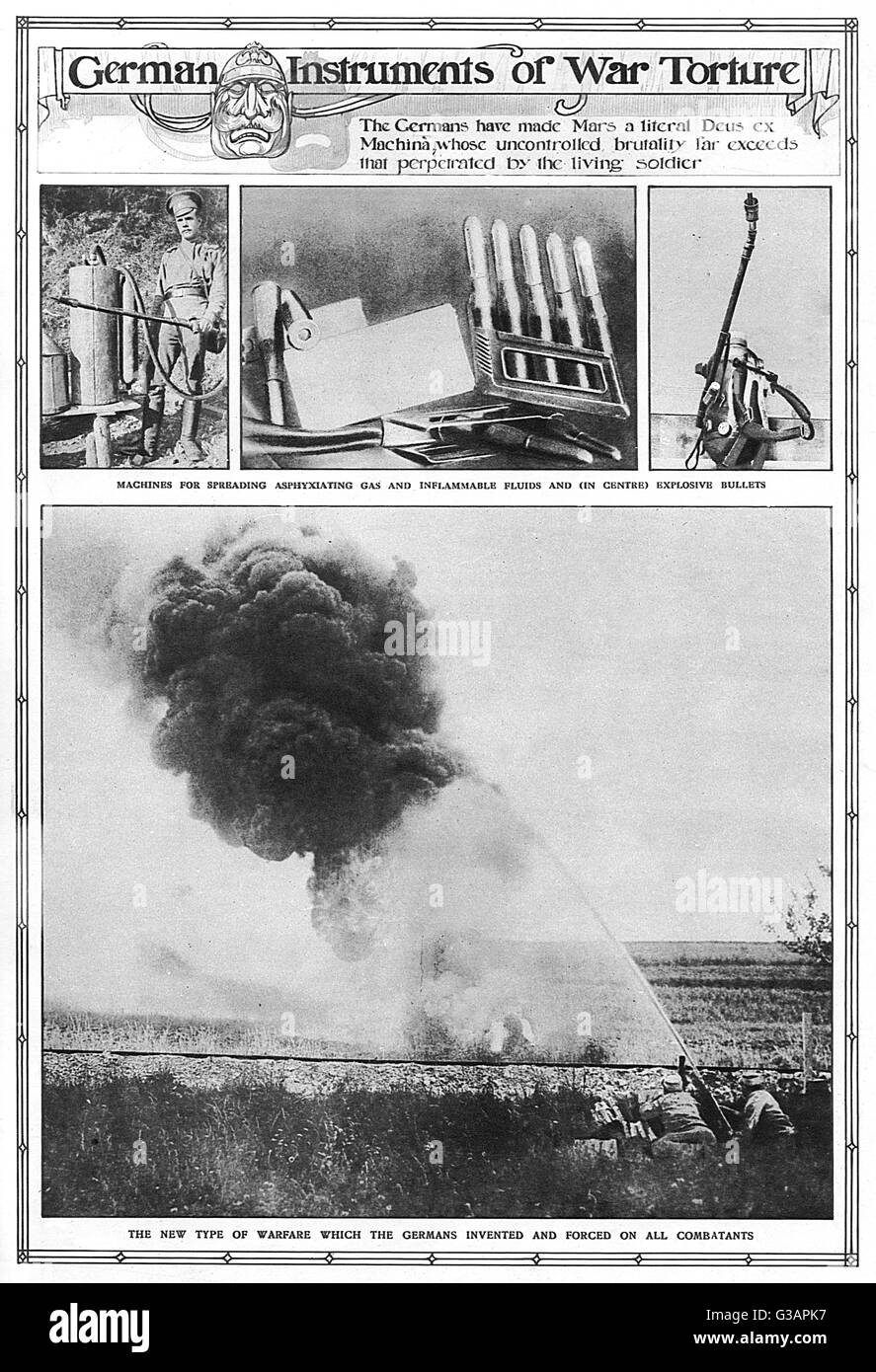 Examples of German barbarity in The Graphic magazine including machines for spreading asphyxiating gas and inflammable - Stock Image