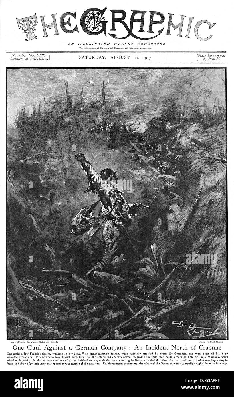 An incident on the Western Front north of Craonne depicted by Paul Thiriat on the Front cover of The Graphic.  A Stock Photo