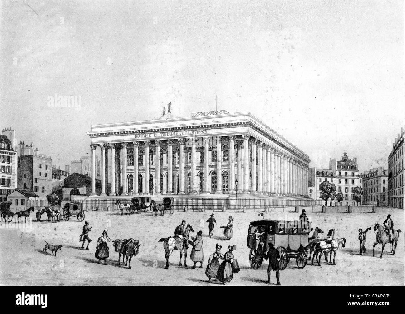 Paris, France - La Bourse.     Date: circa 1850 - Stock Image