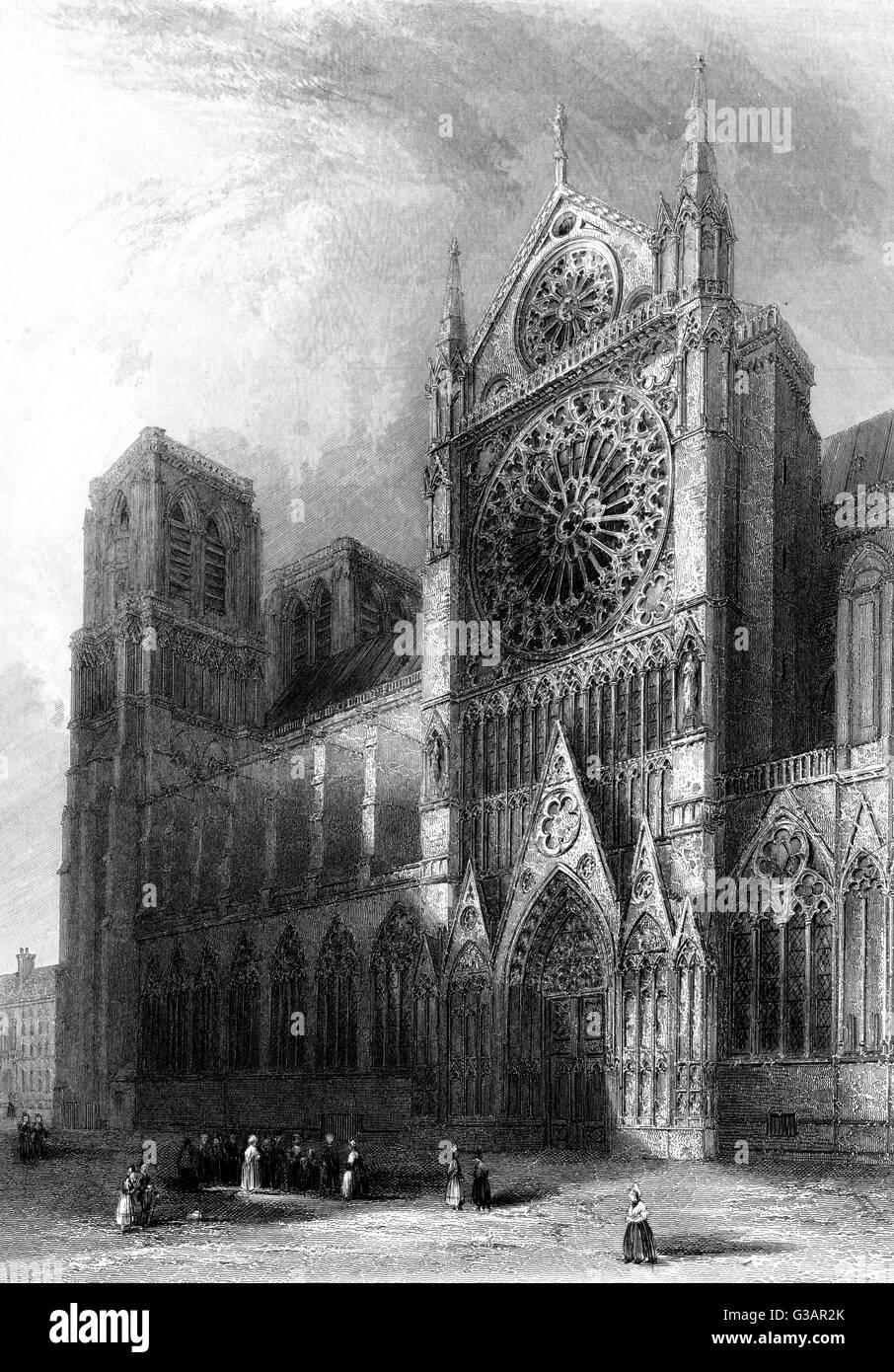 Paris, France - Notre-Dame.     Date: 1836 - Stock Image