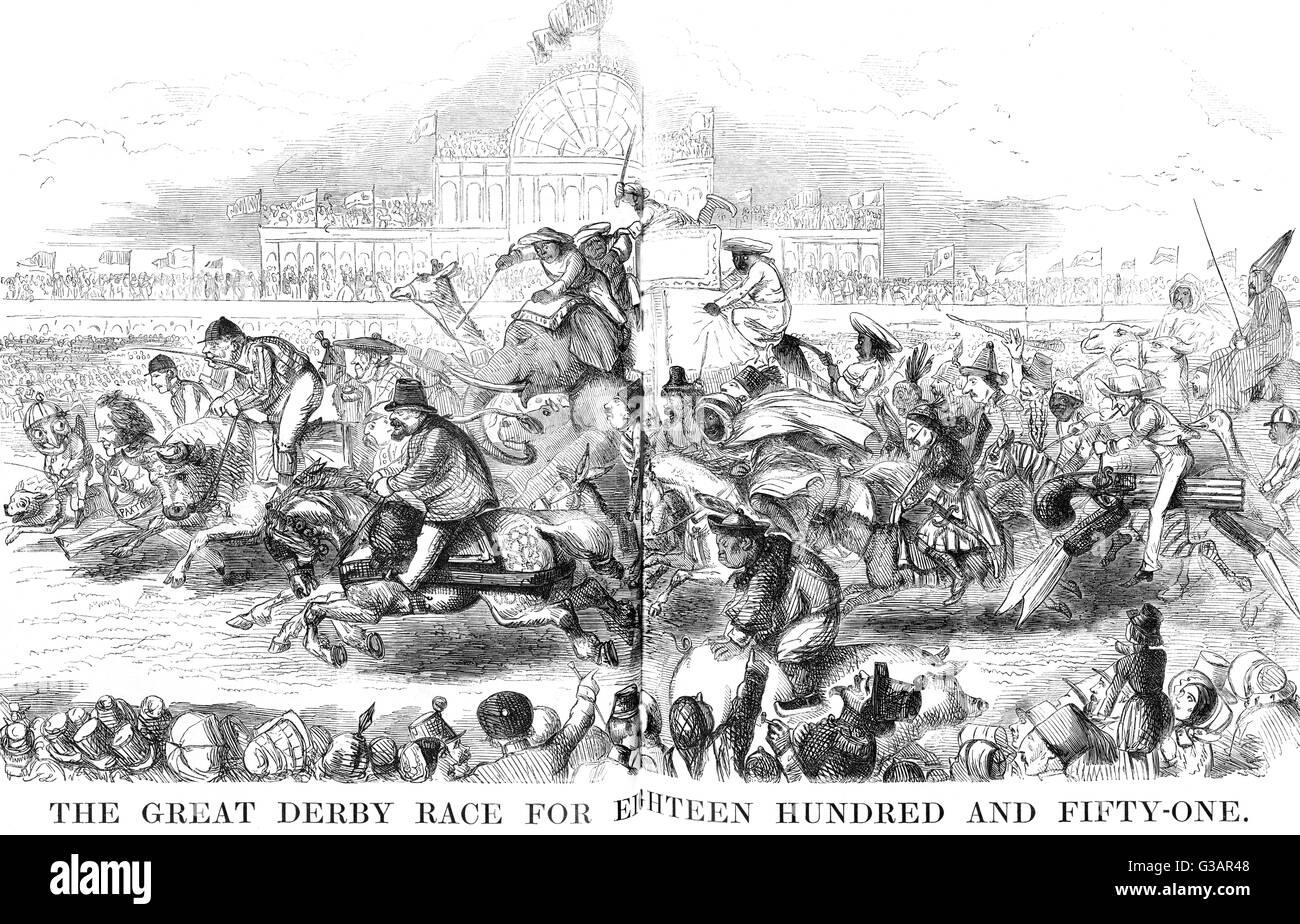 The Great Derby Race for Eighteen Hundred and Fifty-One. Mr Punch is out front, followed by Joseph Paxton, and then - Stock Image
