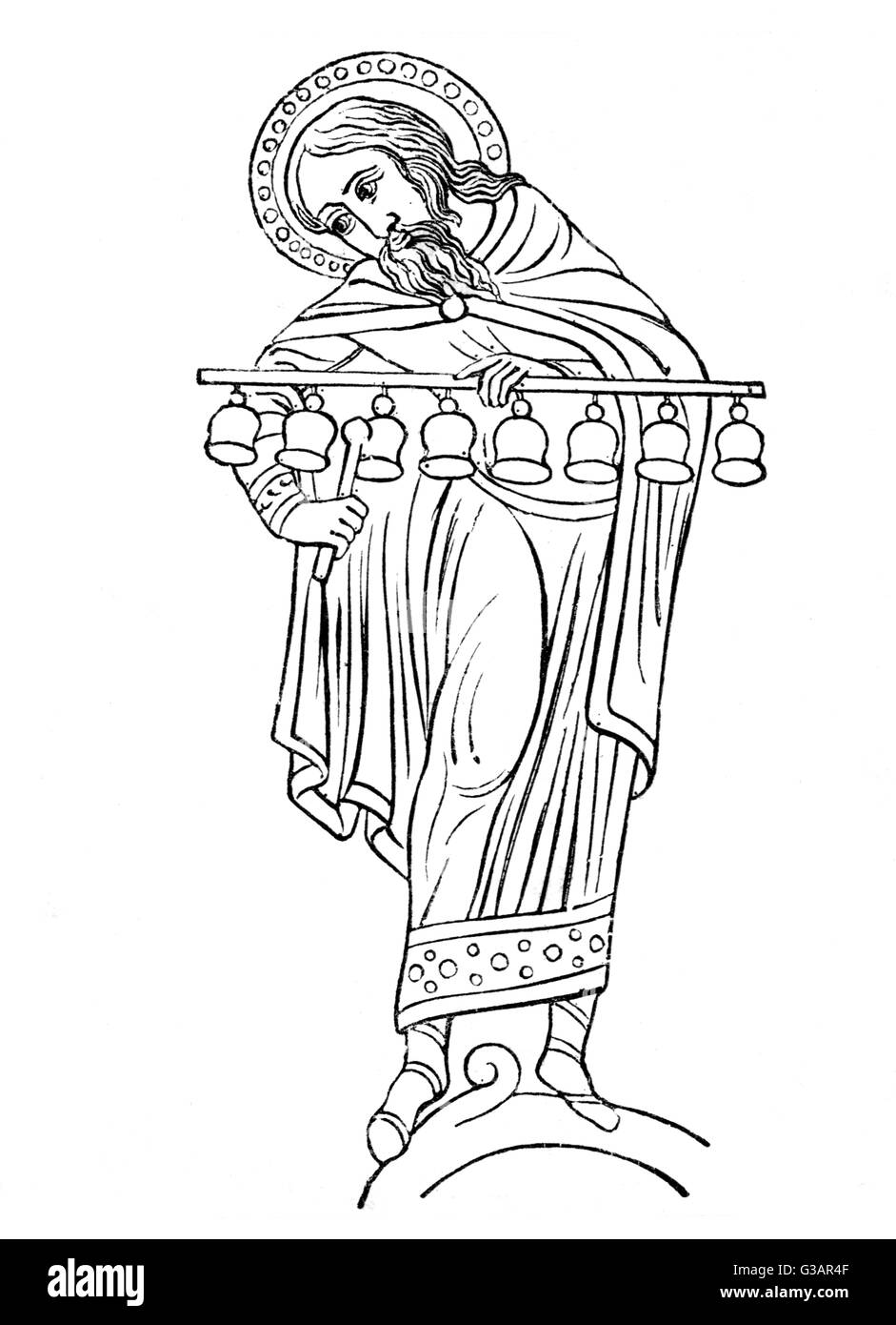 A halo-ed figure(possibly King David)plays a row of eight bells. - Stock Image