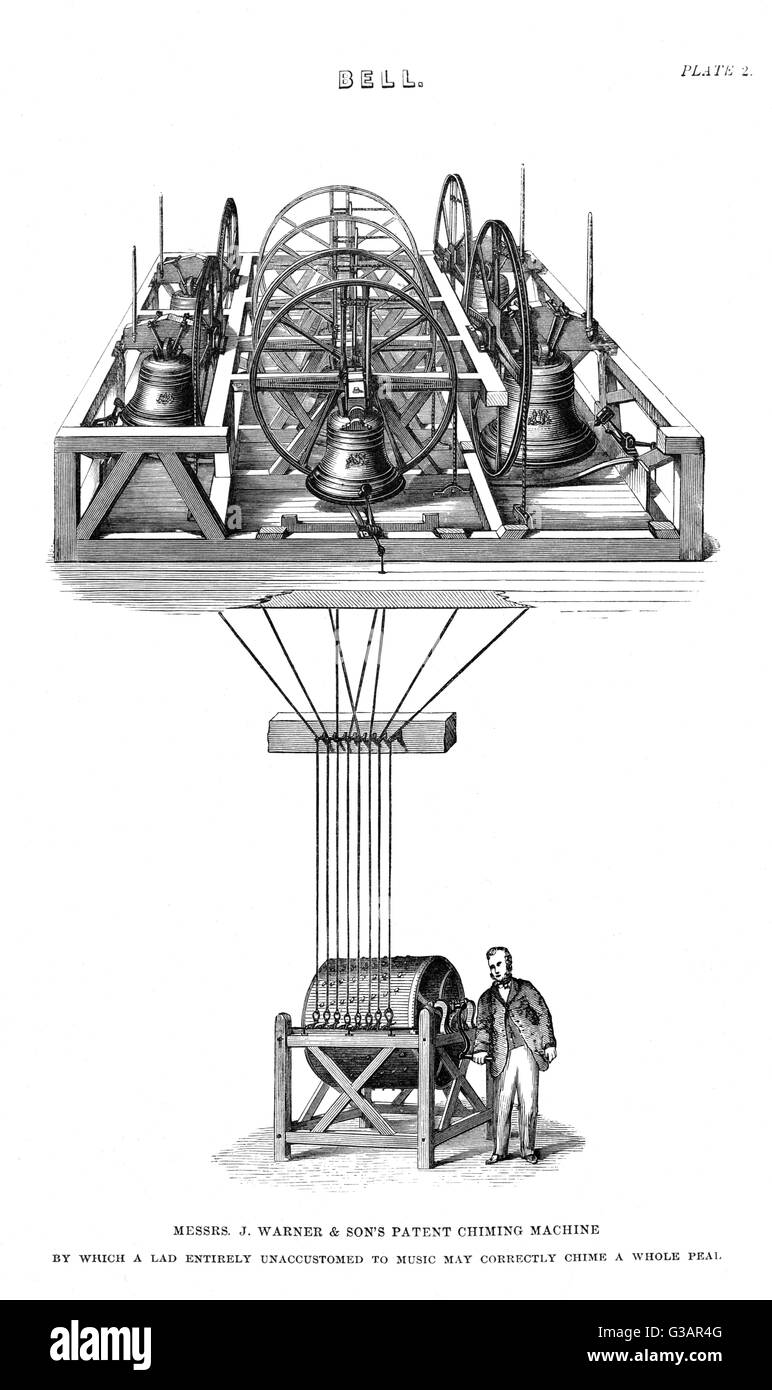 Messers J. Warner and son's patent chiming machine, by which a lad entirely unaccustomed to music may chime - Stock Image