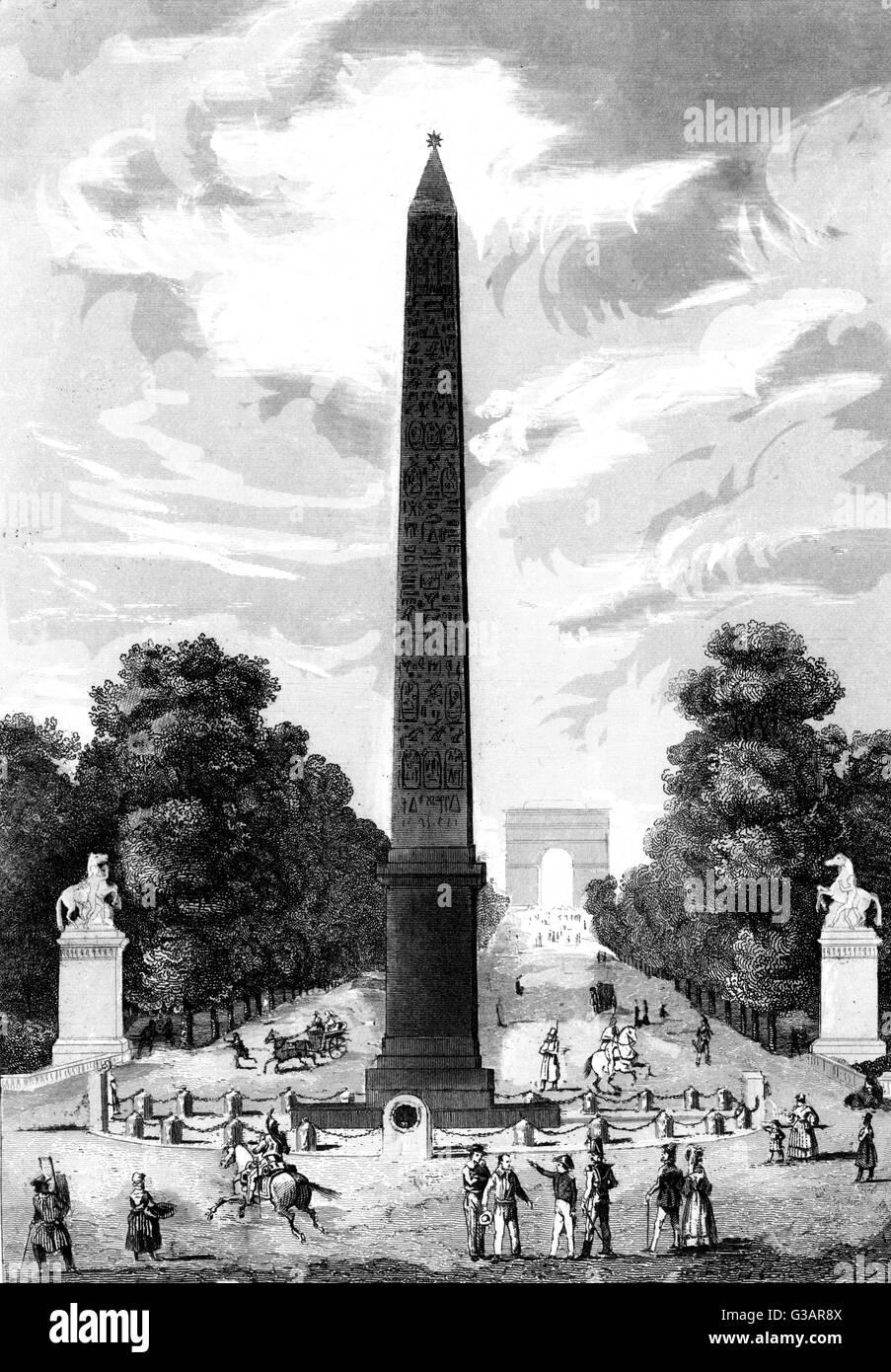 Paris, France - Place de la Concorde.     Date: 1836 - Stock Image