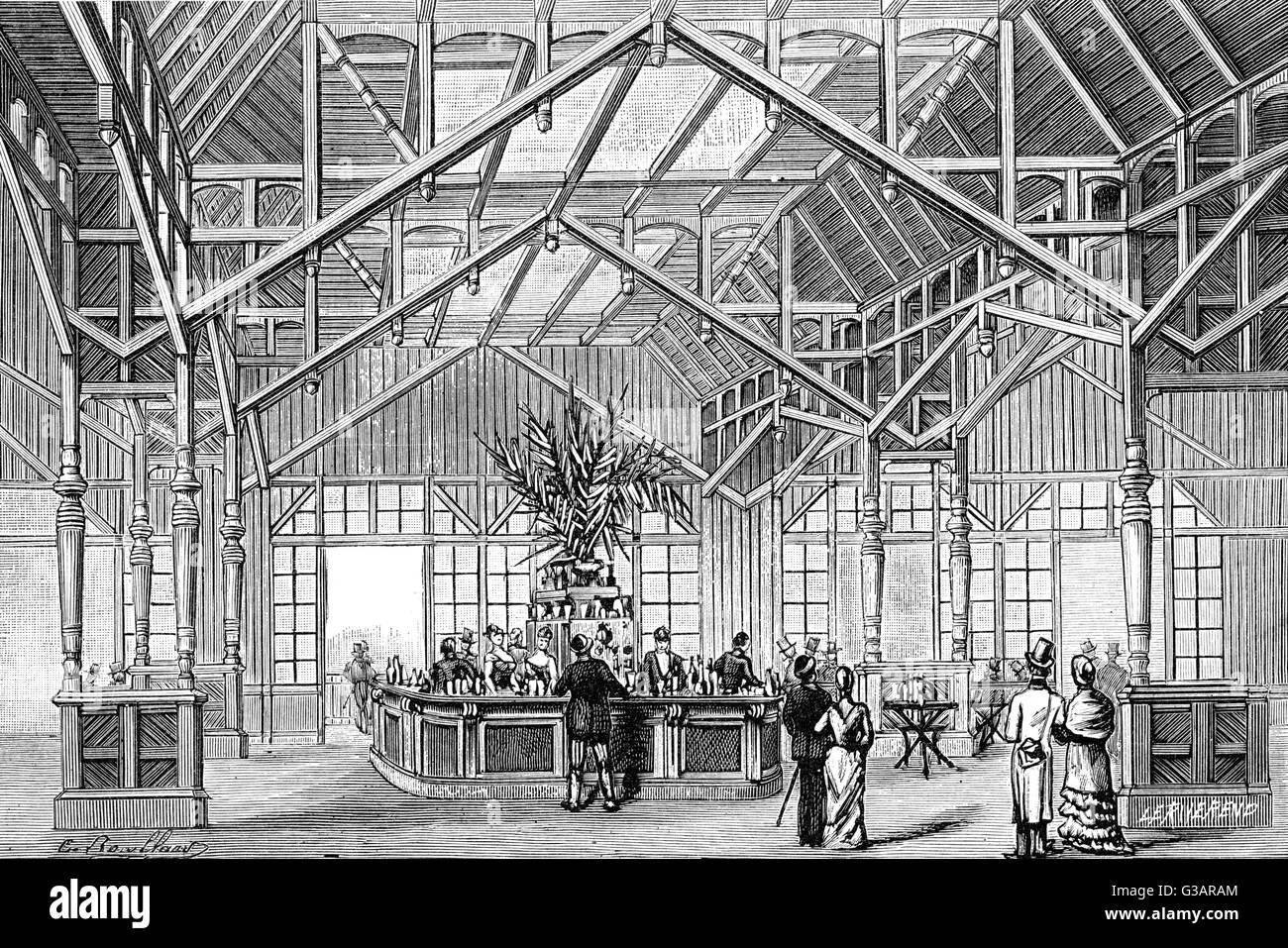 Paris, France - La Tour Eiffel, Ango-American Bar.     Date: 1889 - Stock Image