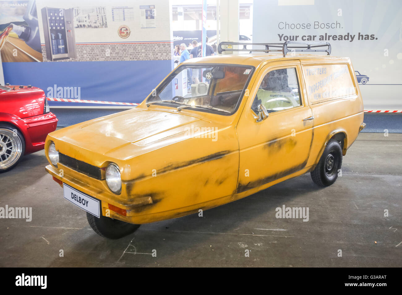 An iconic Reliant Regal supervan oldtimer nicknamed 'Stojadin' exhibited at Fast and furious street race - Stock Image
