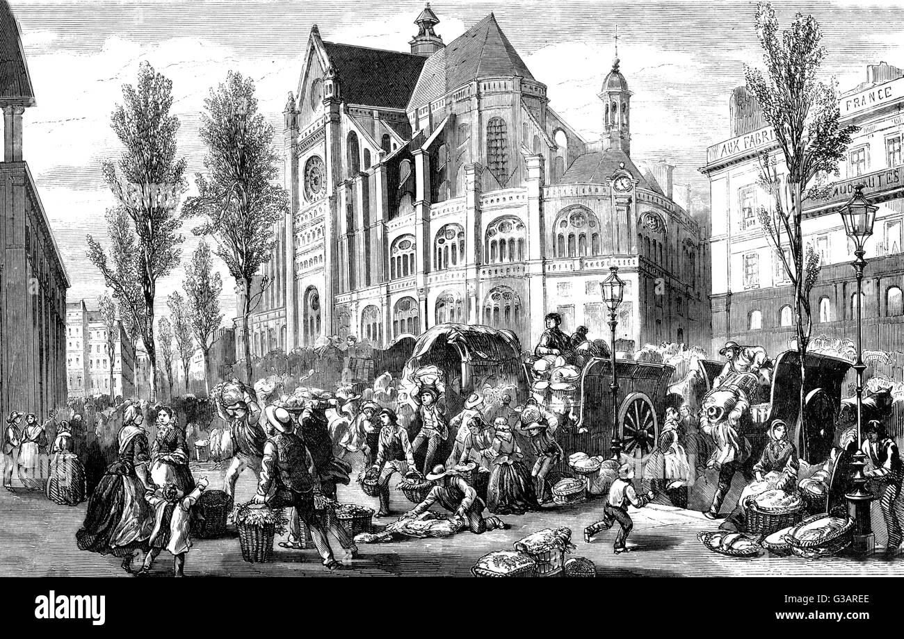 Paris, France - Les Halles et Saint Eustache.     Date: 1861 - Stock Image