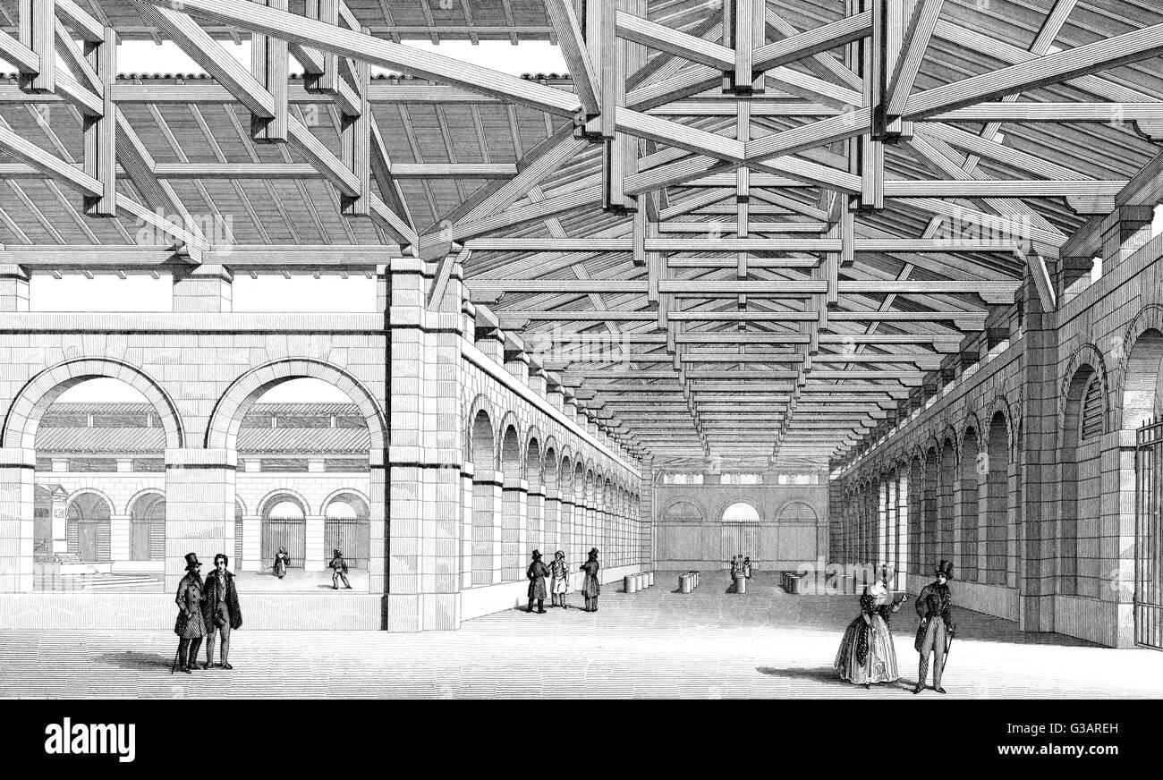 Paris, France - Marche Saint Germain.     Date: 1855 - Stock Image