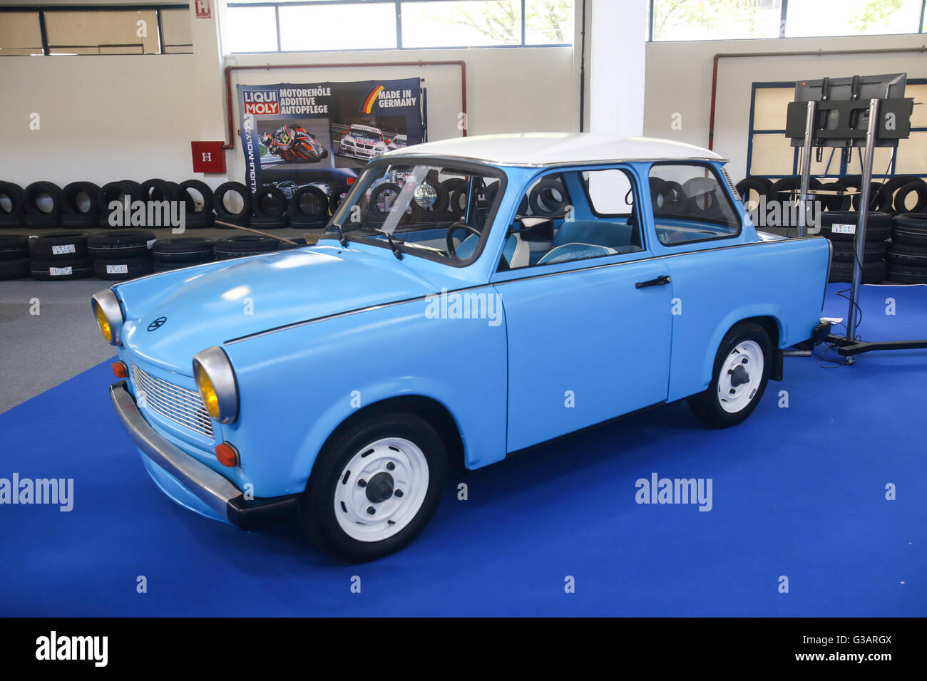 ZAGREB, CROATIA - JUNE 4, 2016 : An oldtimer car Trabant exhibited at Fast and furious street race in Zagreb, Croatia. Stock Photo