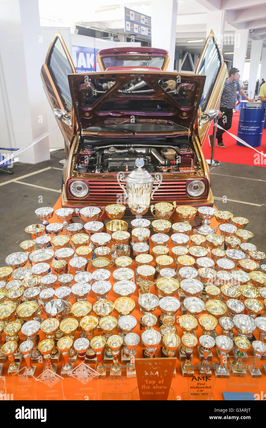 An oldtimer Volkswagen Golf Mark Two with a pile of trophies exhibited at Fast and furious street race in Zagreb, Stock Photo