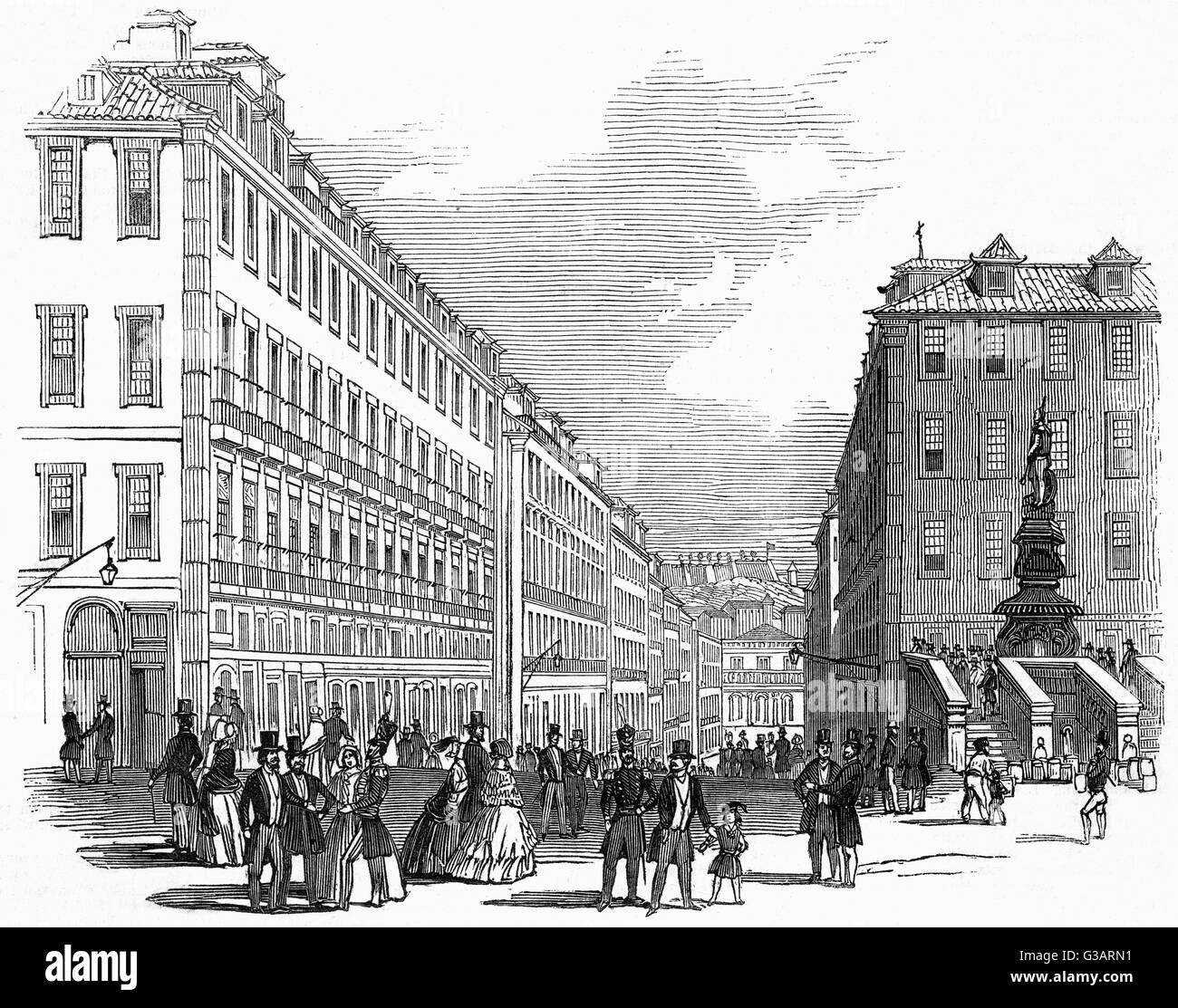 The Rua das Portas de Sta. Catharina, Lisbon     Date: 1846 - Stock Image