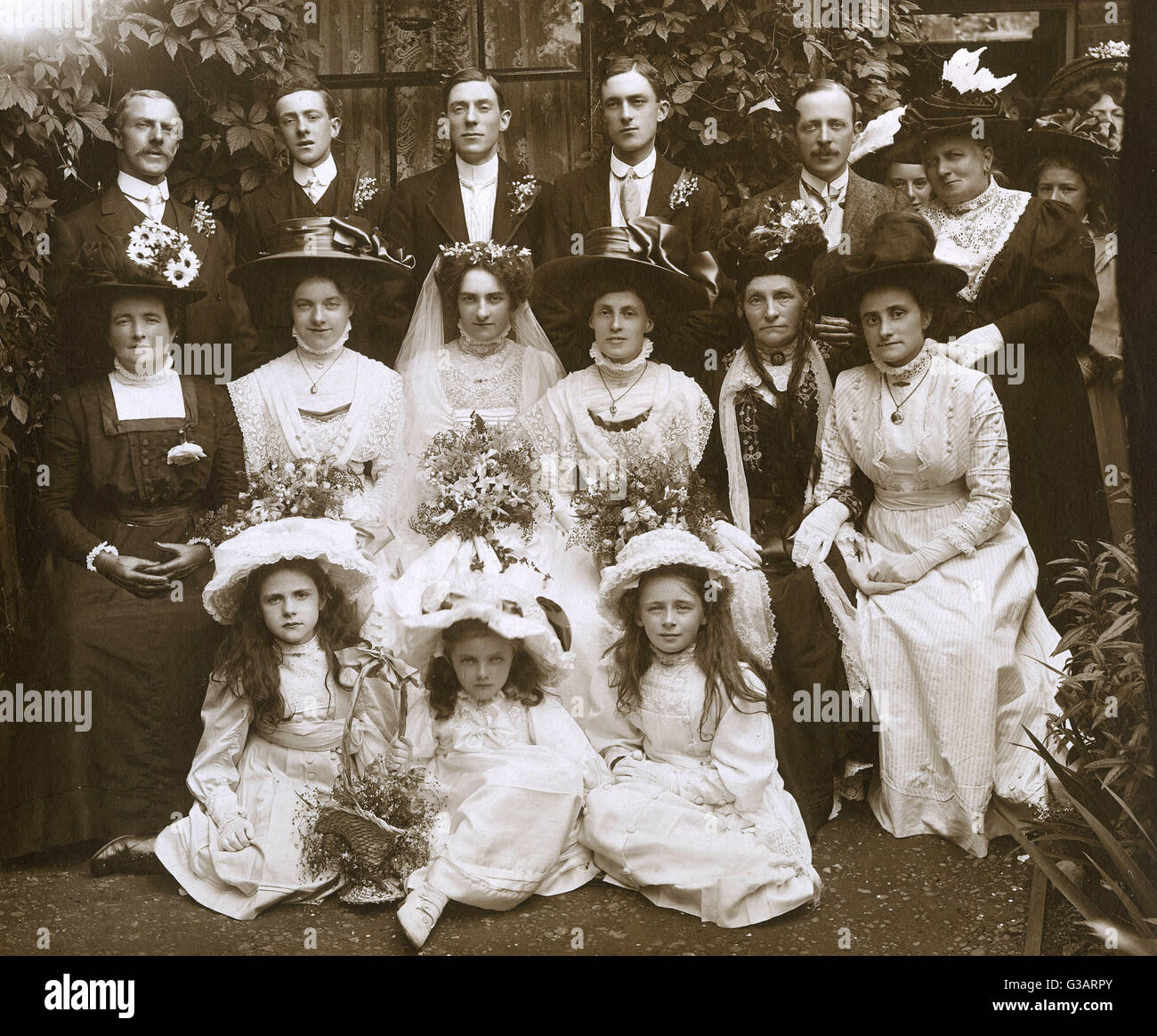 Wedding dress victorian stock photos wedding dress victorian stock a superb photograph of late victorian wedding party focusing on the bridal group all show junglespirit Image collections
