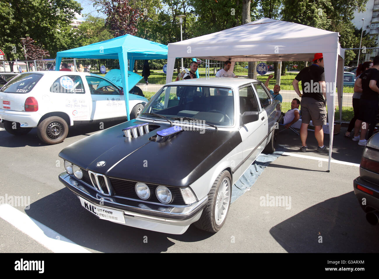 Parked old redesigned BMW waiting for beginning of race at Fast and furious street race at Avenue Dubrovnik in Zagreb, Stock Photo