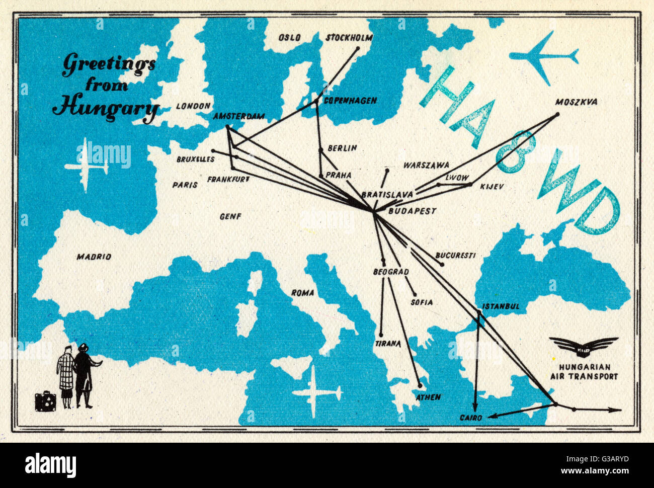Postcard with map of europe and airline routes to and from budapest postcard with map of europe and airline routes to and from budapest greetings from hungary hungarian air transport date circa 1960s m4hsunfo