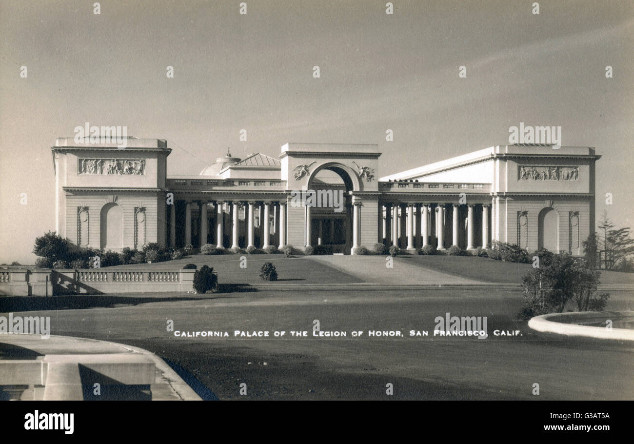 Palace of the Legion of Honor, Lincoln Park, San Francisco, California, USA.      Date: circa 1925 - Stock Image