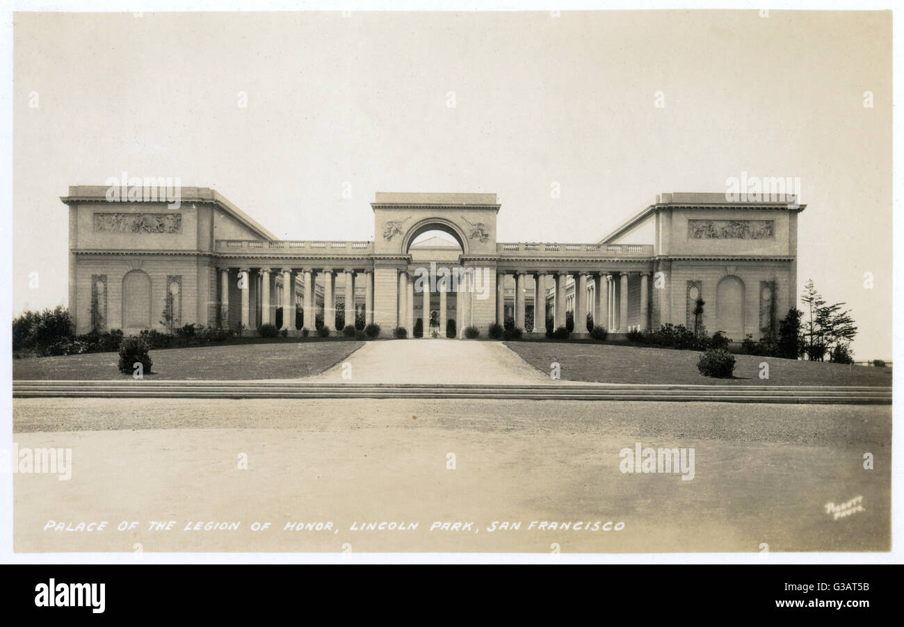 Palace of the Legion of Honor, Lincoln Park, San Francisco, California, USA.      Date: 1929 - Stock Image
