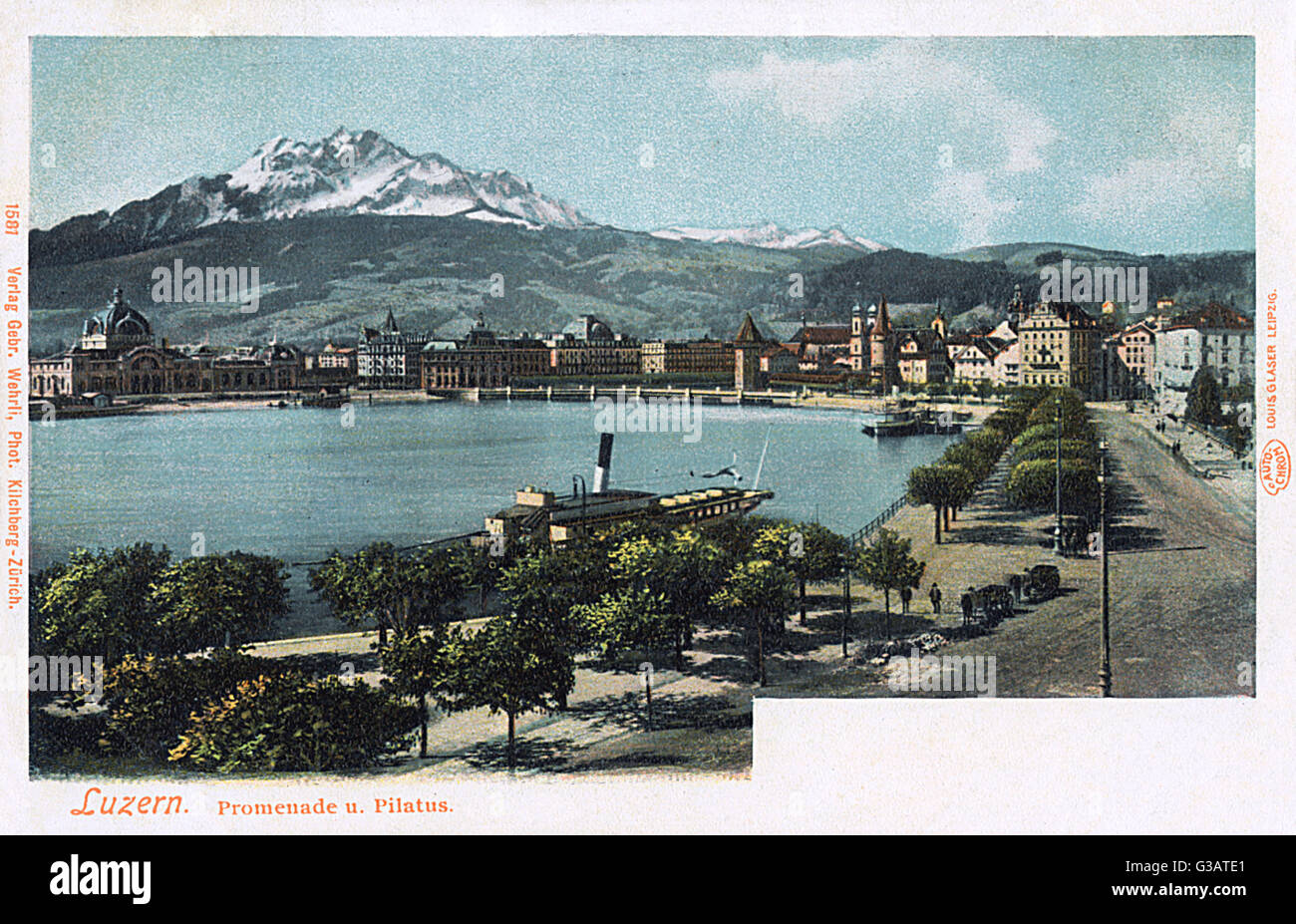 Promenade, with a distant view of the Pilatus Mountain, Lucerne, Switzerland. - Stock Image