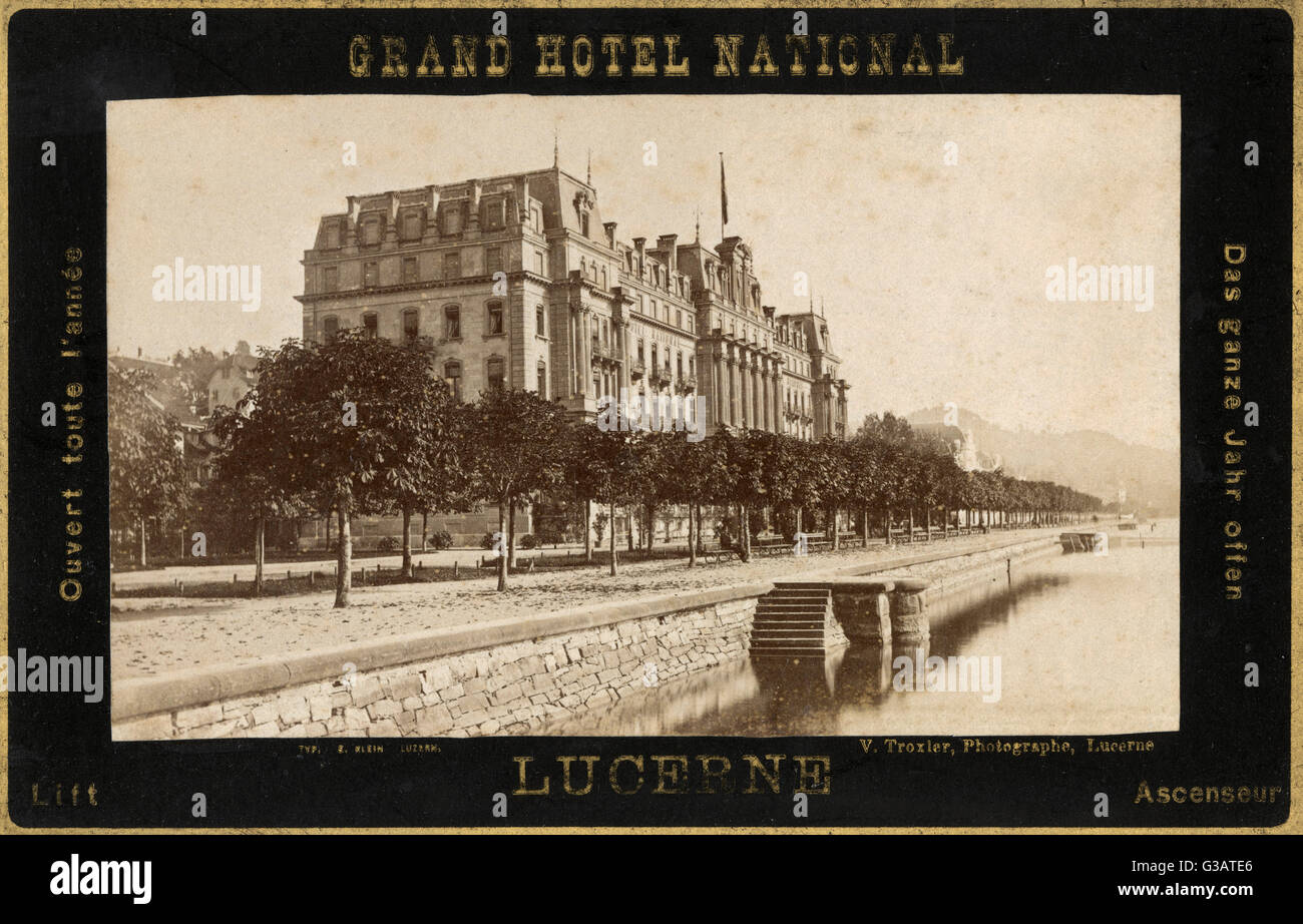 Grand Hotel National, Lucerne, Switzerland -- open all the year round.      Date: circa 1890s - Stock Image