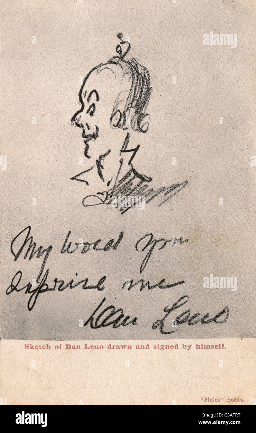 Self portrait of Dan Leno (1860-1904) - leading English music hall comedian and musical theatre actor during the - Stock Image