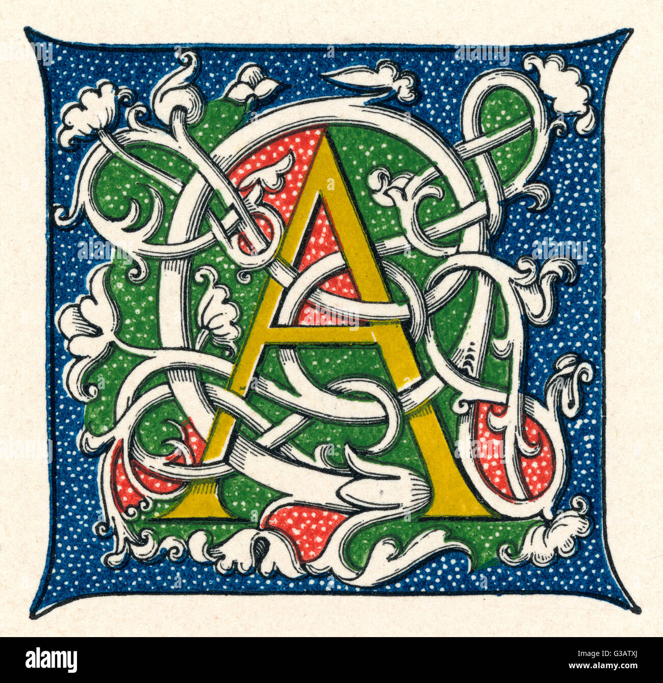 Illuminated Letter A In A Medieval Style Stock Photo
