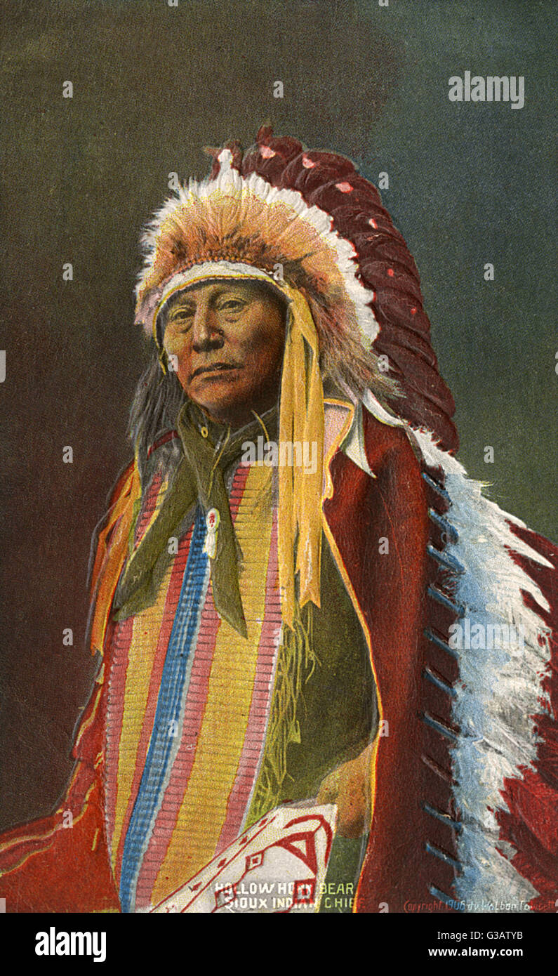Sioux Indian Chief - Hollow Horn Bear (18501913) - a Brul頌akota leader during the Indian Wars on the - Stock Image