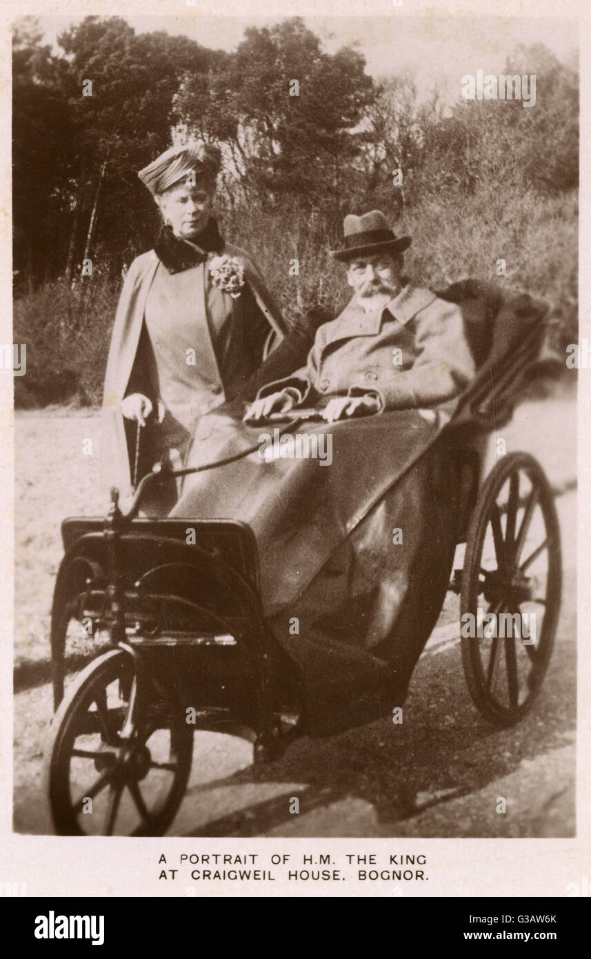 King George V (1865 1936) (with Queen Mary) In A Bath Chair At Craigweil  House, Bognor, West Sussex. Date: 1929
